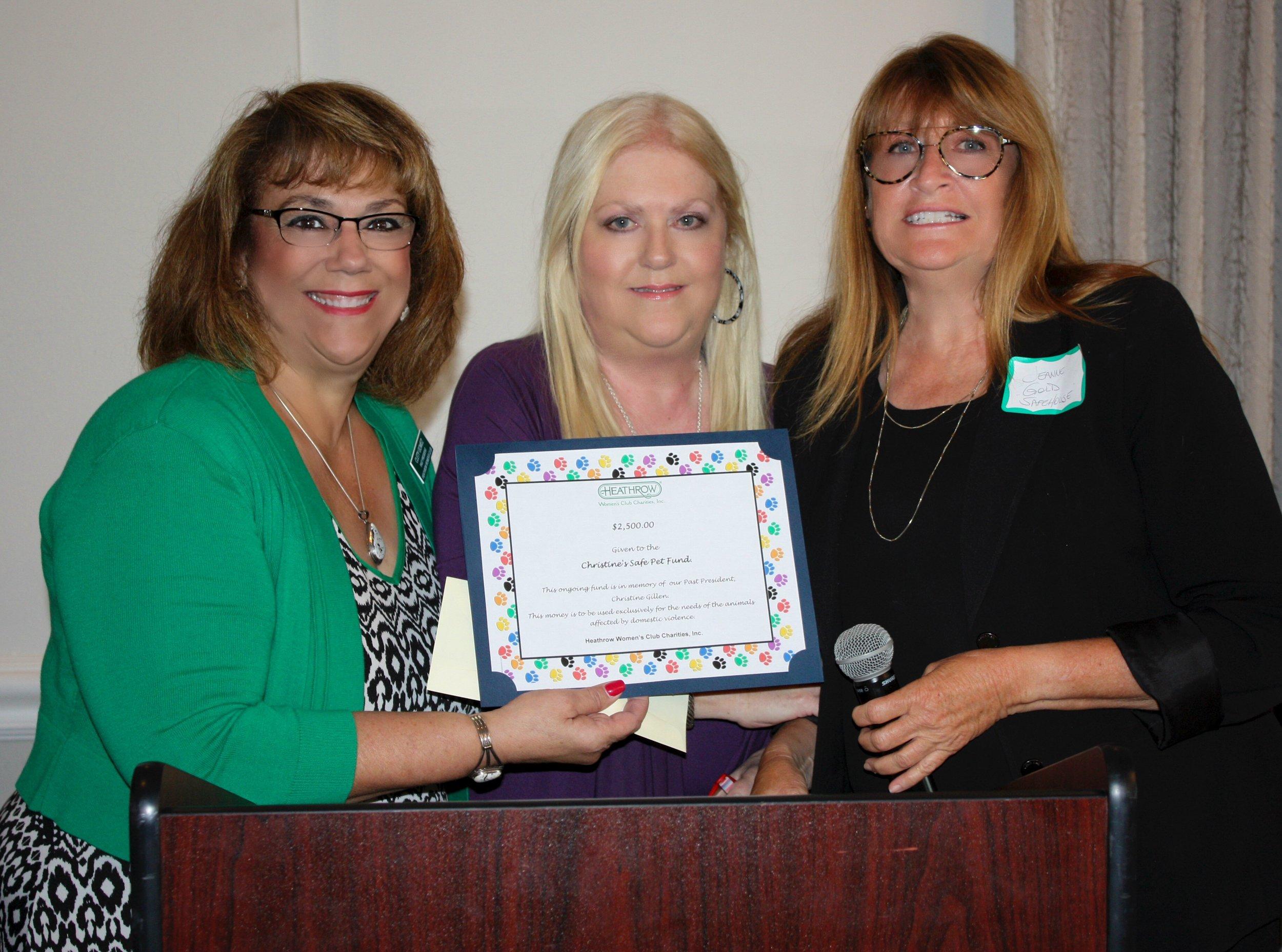 Christine's Safe Pet Fund Clety Gomez, Patti Neveleff, Jeanne Gold.JPG