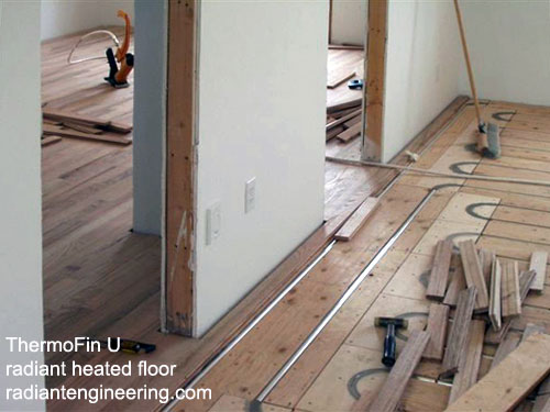 heated hardwood floors with ThermoFin by Radiant Engineering