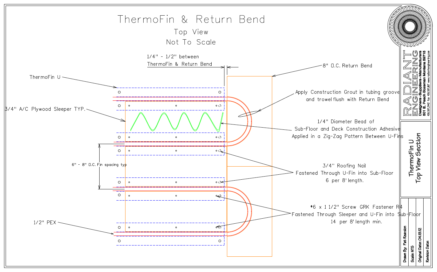 ThermoFin U Installation Top View Instructions -  CLICK HERE to open PDF graphic .
