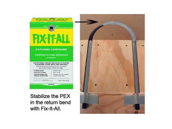 For installations of ThermoFin U with return bends, stabilize the PEX tubing with Fix-It-All.