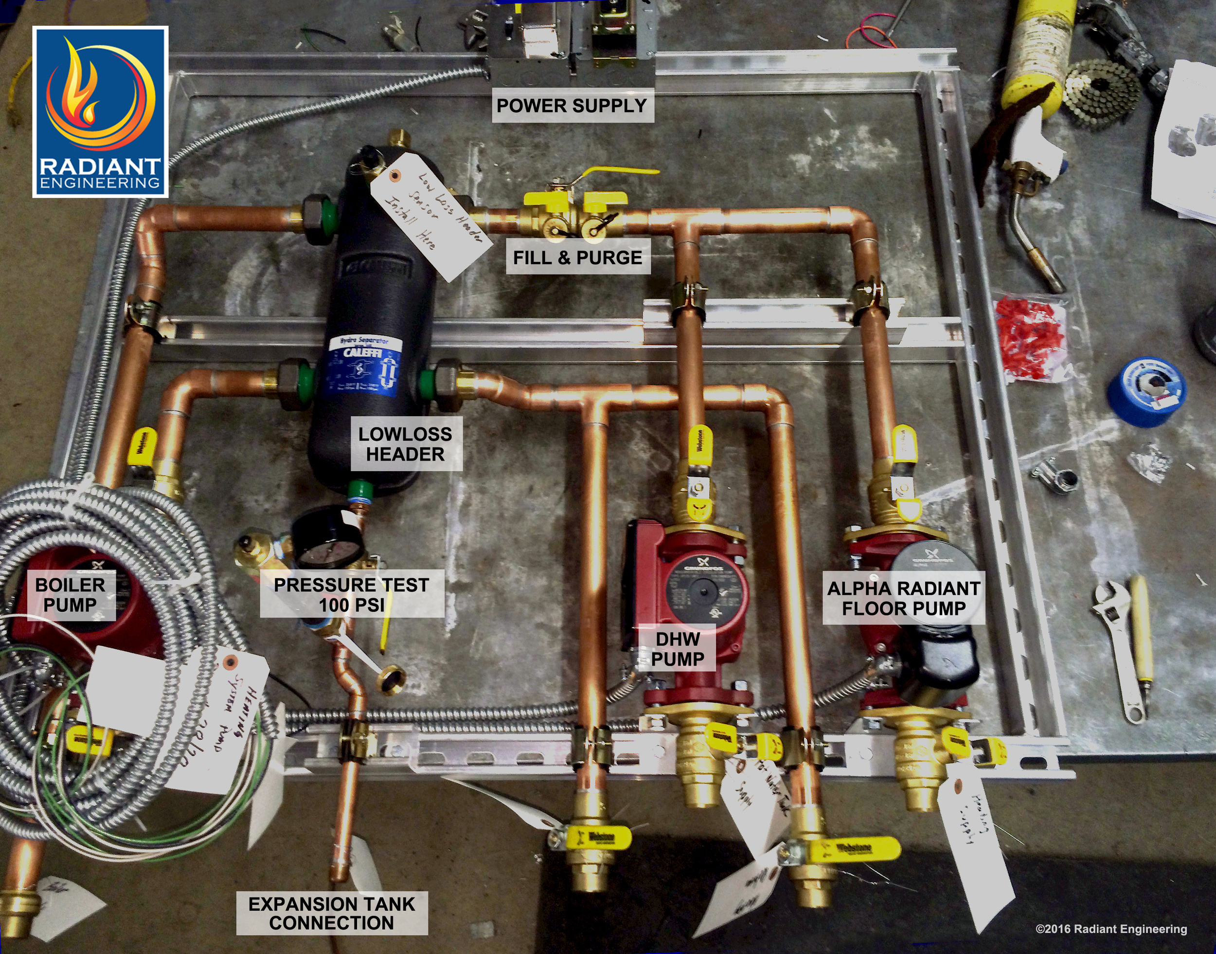 Custom hydronic system buildup pre-fabrication for Vitodens-200 by Radiant Design & Supply