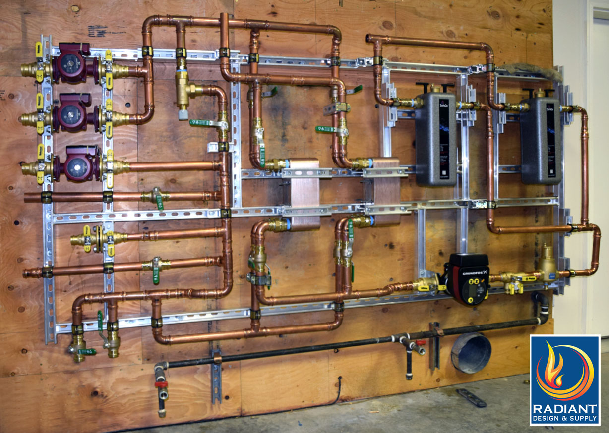 This is a retrofit of a large home radiant heating system, fabricated by Radiant Design & Supply.