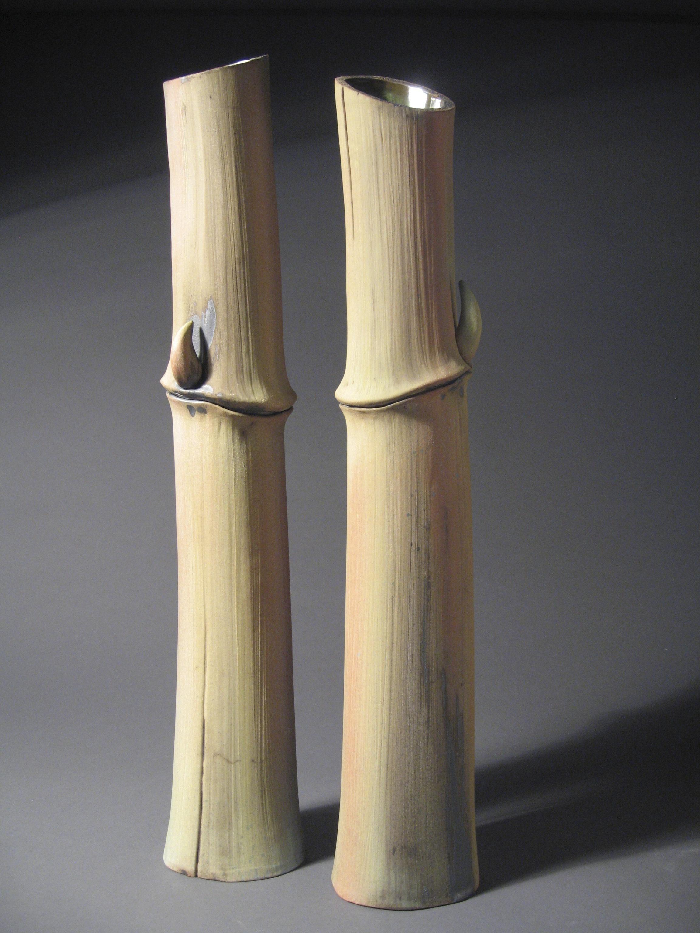 5 Bamboo Pair, white earthenware, terra sigillata, glaze liner, ea. 24 x 4 (1).jpg