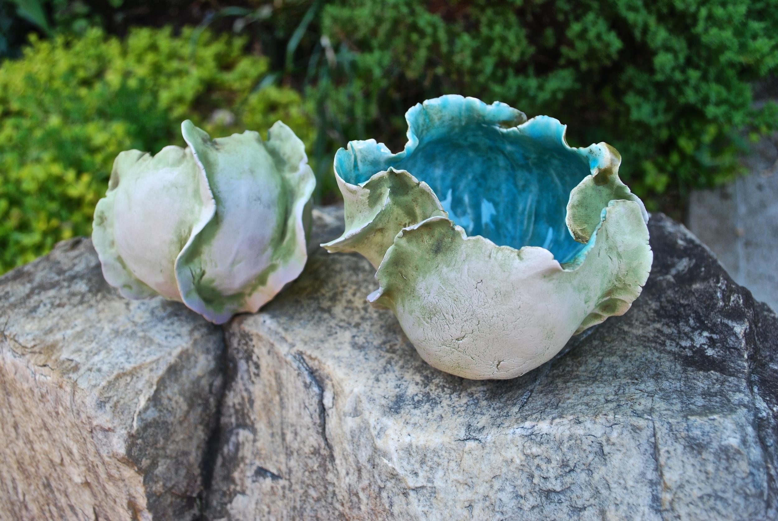 Meditation Bowl Pair posing on a rock in my garden...