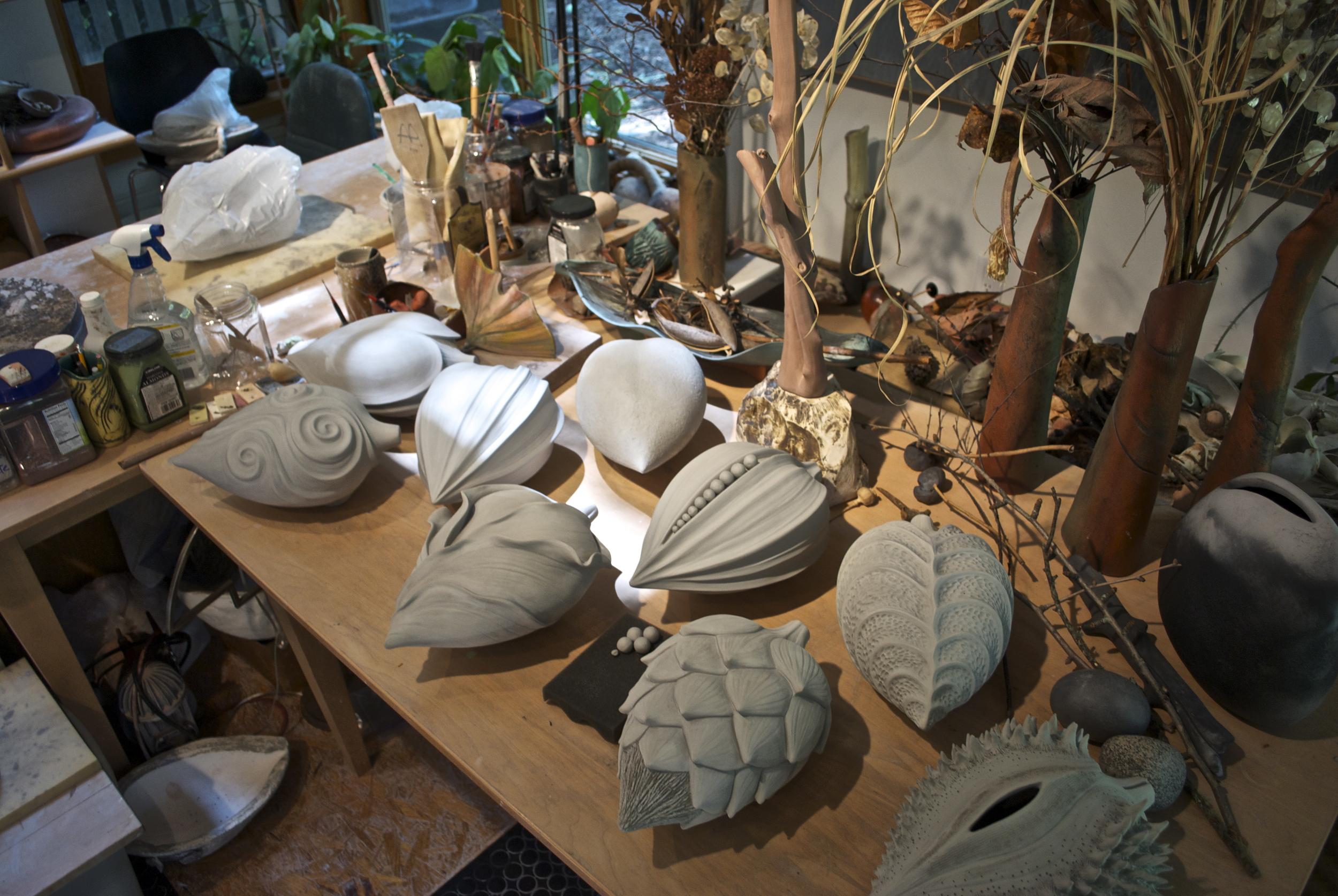 Alice Ballard's studio - Pods drying before adding colored terra sigillata