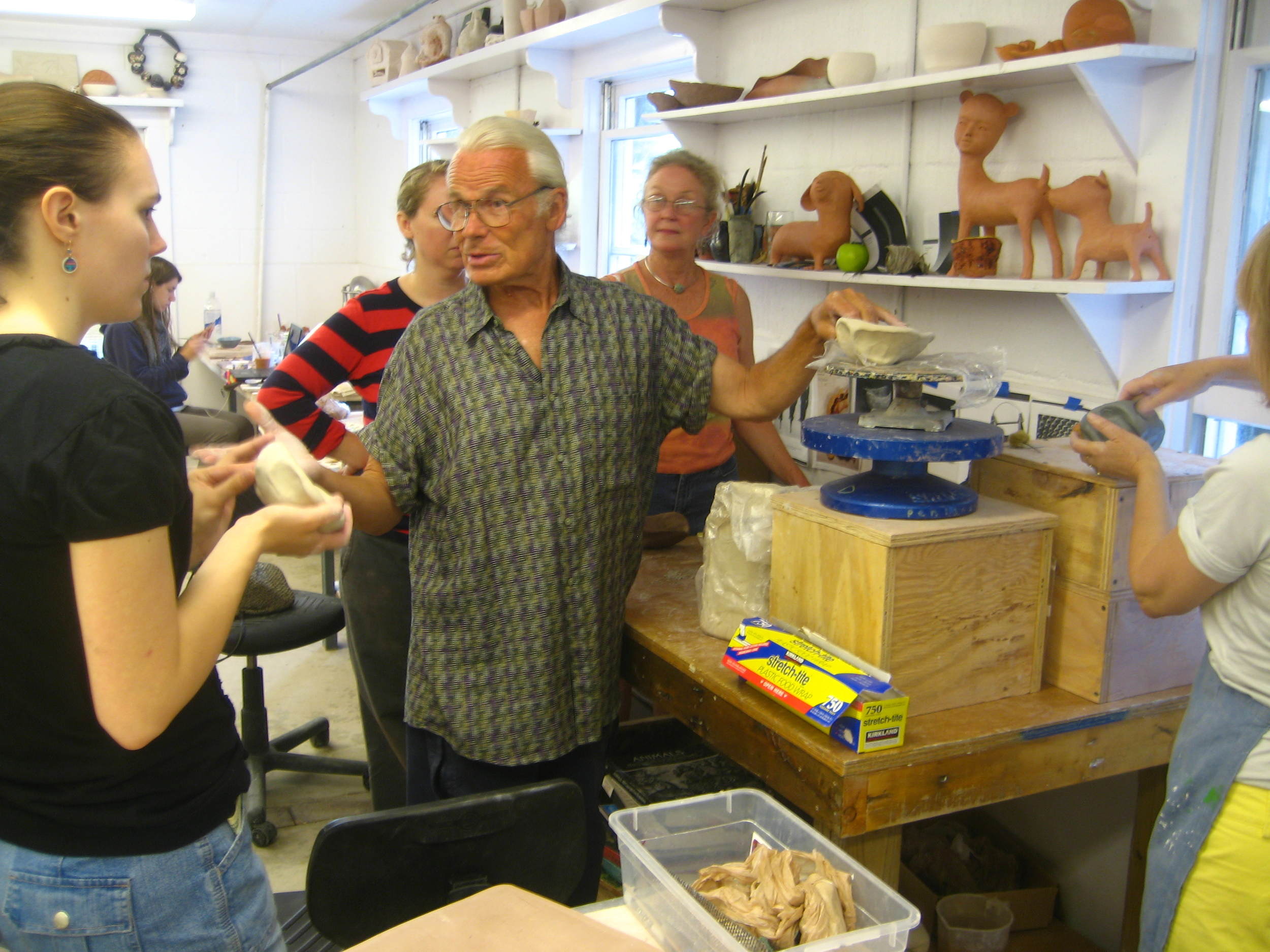 """Downstairs clay during """"Cross Pollination"""", the workshop Jenny Mendes and I taught at Penland in 2004.  Can you see that glow?"""