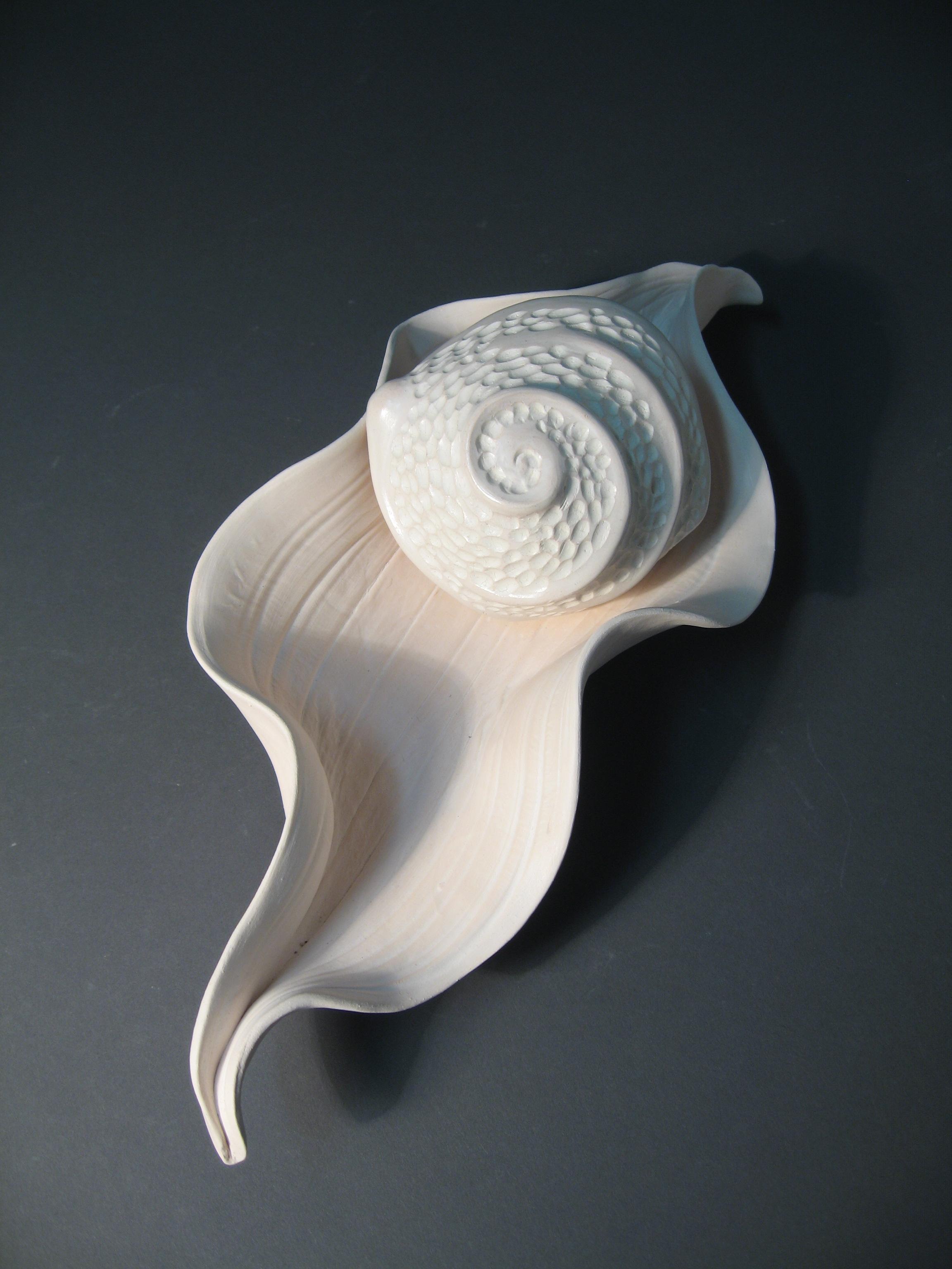 Alice Ballard, Leaf and Pod, white earthenware and terra sigillata