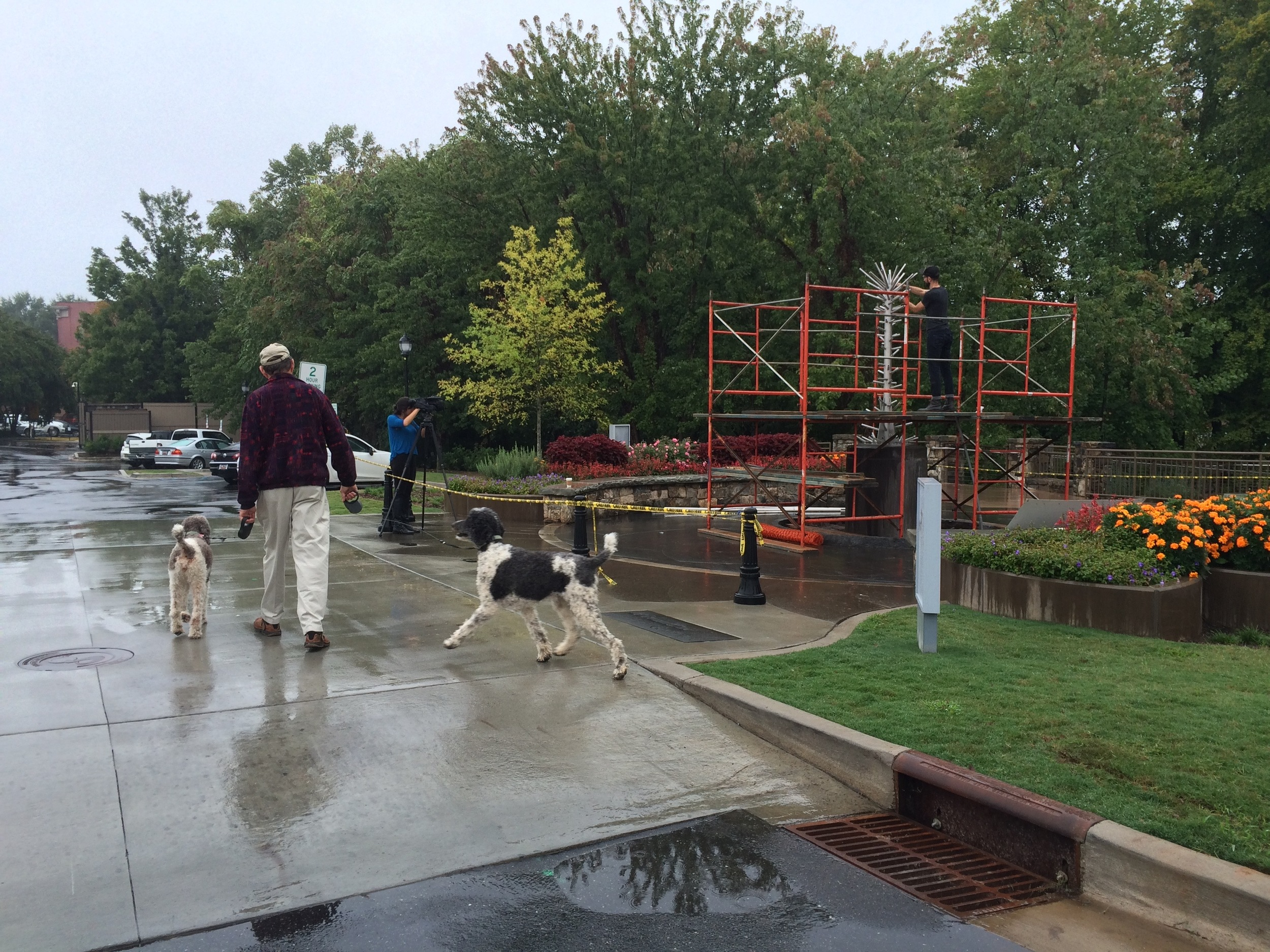 Roger, Rosie and Jaz as we begin our morning walk in the rain, in Falls Park.