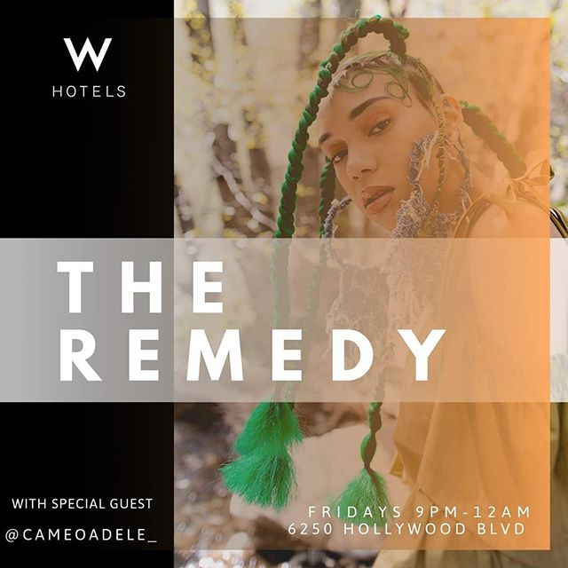 Every Friday at 9:30 we are at the @whollywoodhotel enhancing the vibes and giving y'all a space to unwind. . This week we have a special guest feature in the incredibly talented @cameoadele_. Her unique blend of jazz soaked neo-soul combined with her powerful lyrics and message of femme empowerment makes for a performance you won't want to miss! . NO COVER --- ALL AGES  DJ SETS BY @somebadi . #TheRemedy #BLCKNOISE #cameoadele #thewhotel #hollywood #residency #newtings #family #tribe #free #livemusic