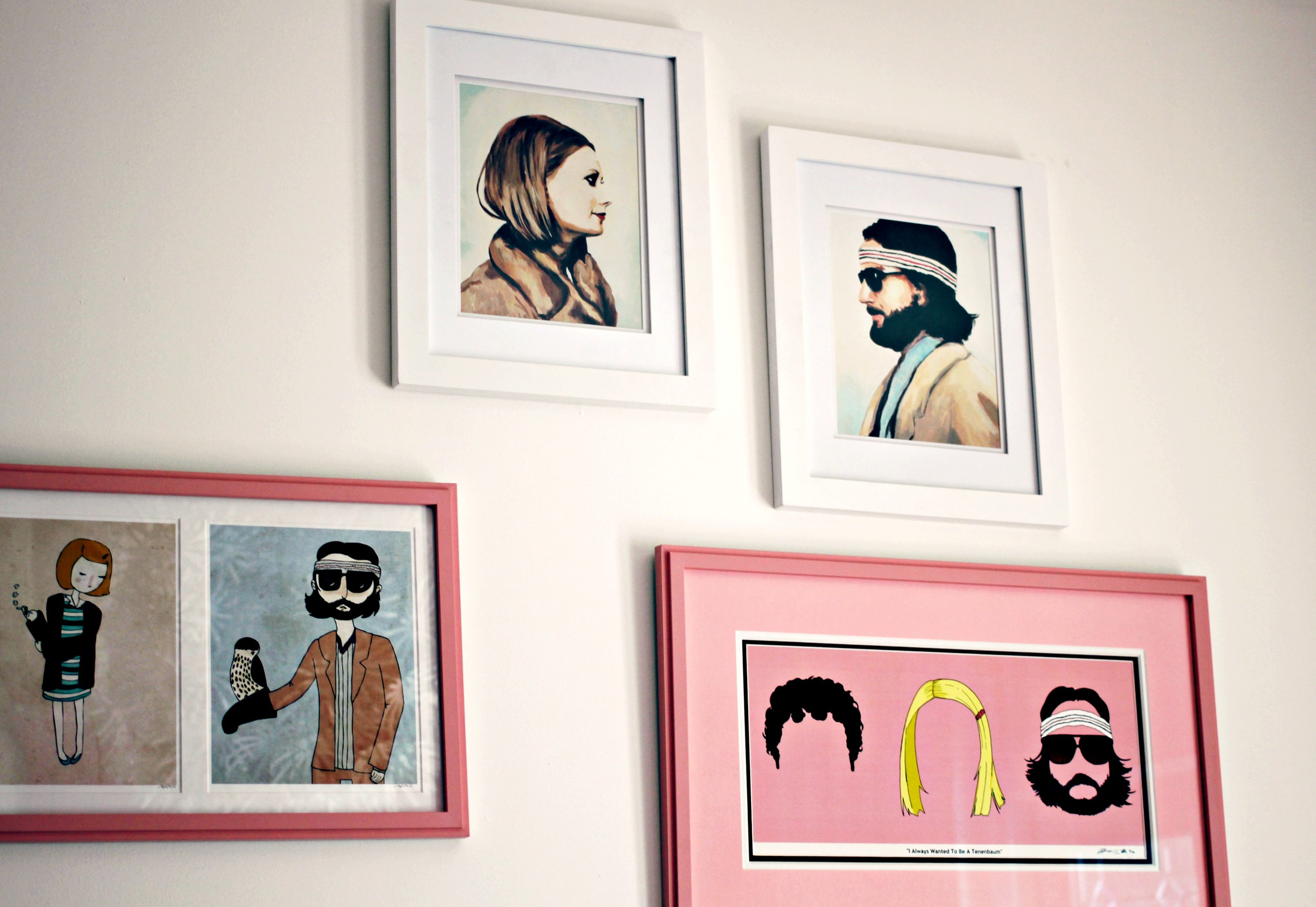 + The top two of Margot and Richie were purchased on  Etsy from this awesome artist.    + The Nan Lawson double prints to the left were purchased from Community in Anaheim, CA but her  shop is full of Wes Anderson inspired art.    + The pink framed print is available from  Red Panda Designs on etsy