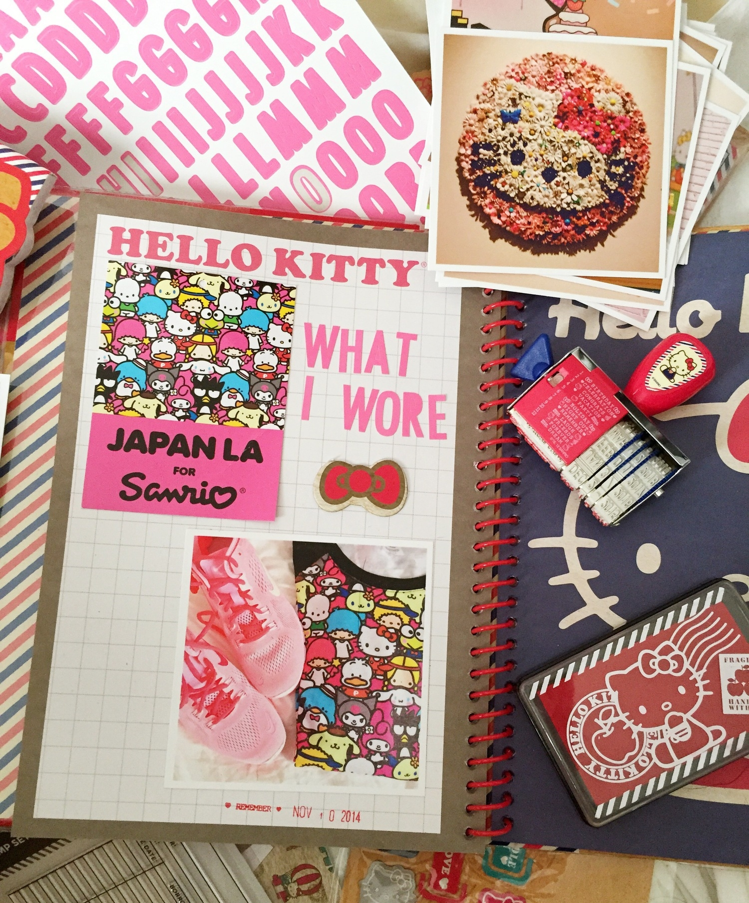Hello Kitty Con offered scrapbooking work classes and the scrapbook packs were half off, I thought Hello Kitty Con would be a great start to my first scrapbook. Yes, it's sloppy but I had so much fun.Things like saving tags from favorite clothing will no longer make me feel like a hoarder.