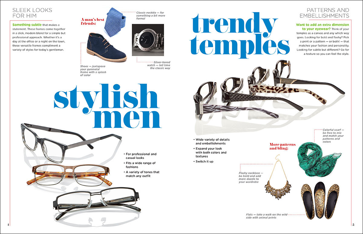 A magazine-like showcase of the GVS designer collection frames, making them appealing to accounts as well as to consumers.