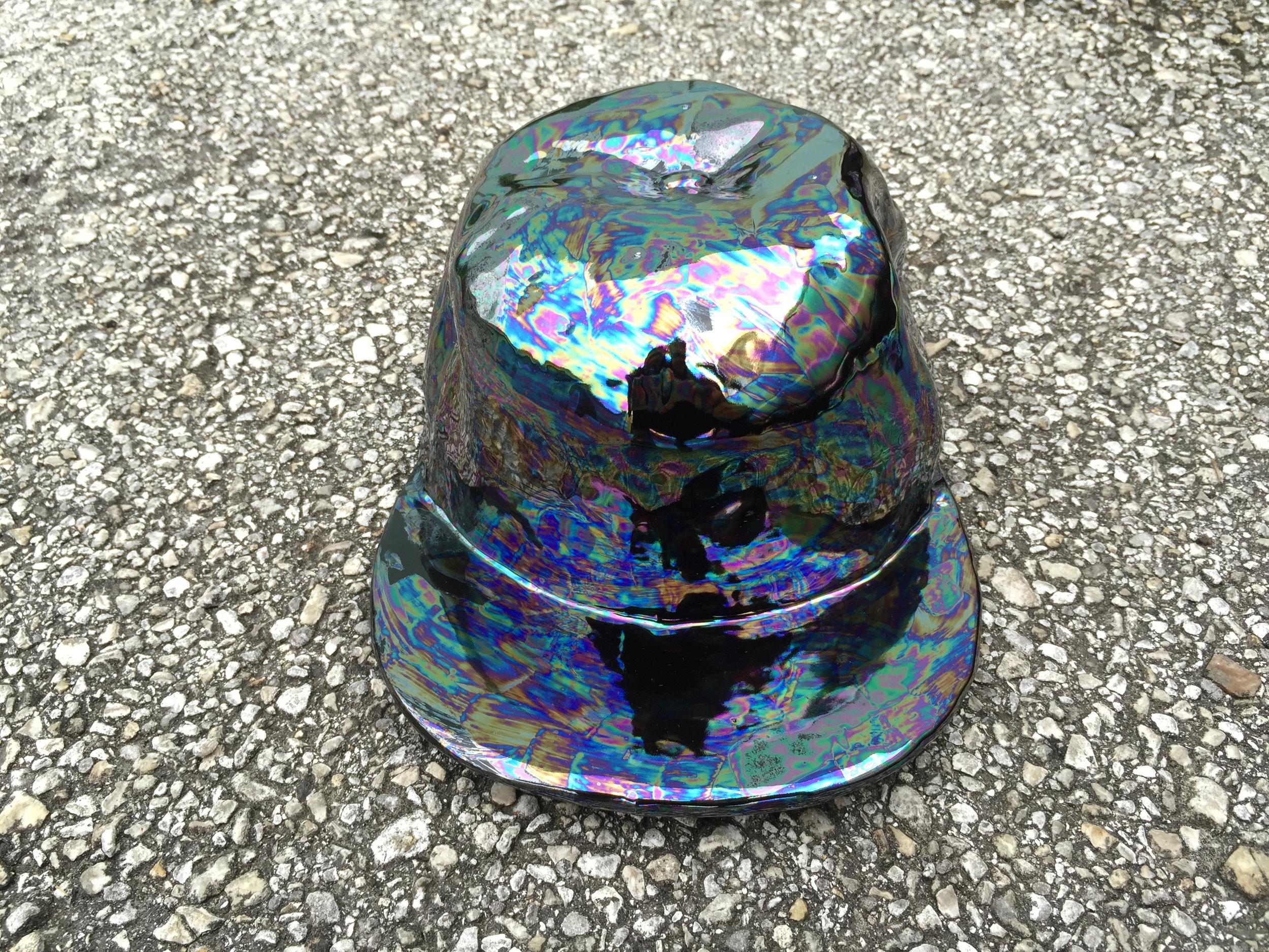 Hat Bowl in Black Oil Slick.