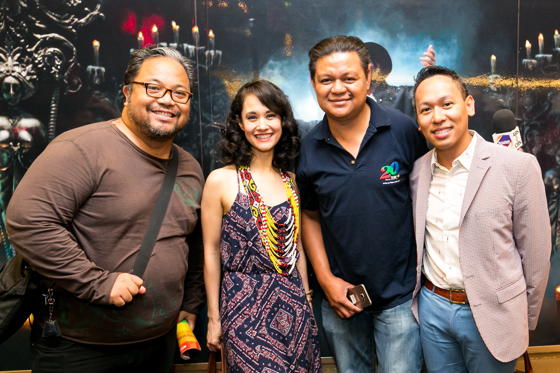 The Phantom of the Opera star Ali Ewoldt, with Tony Award winner Jhett Tolentino, and journalists Momar Visaya and Don Tagala.