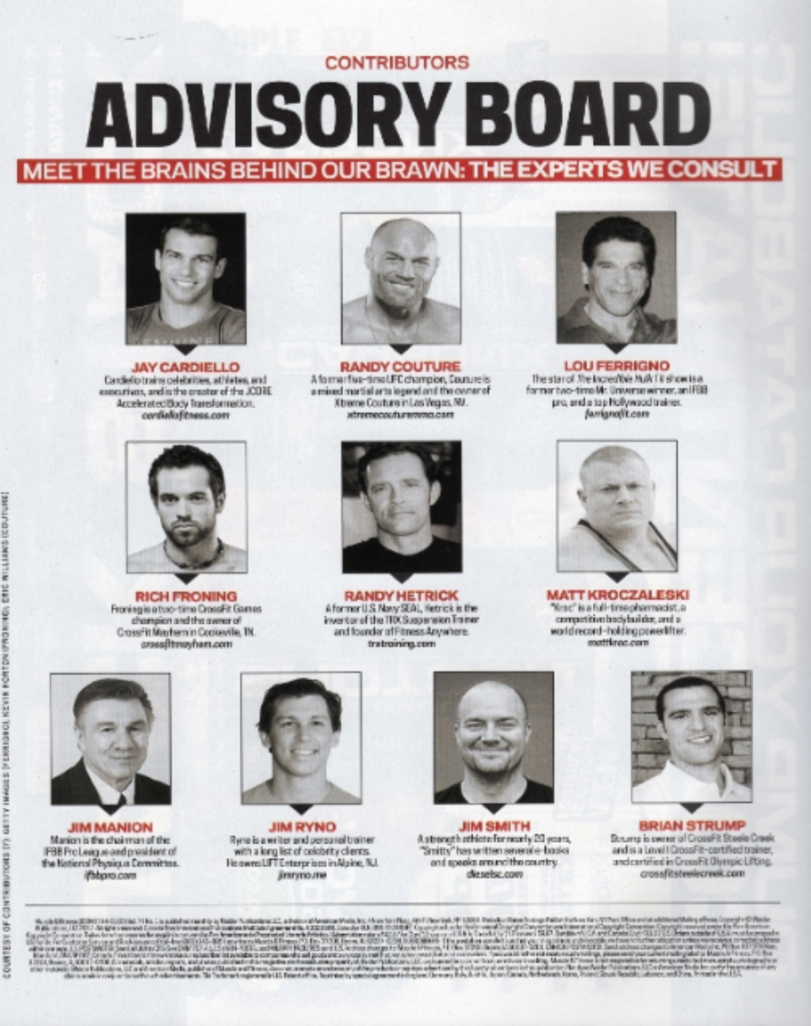 The Muscle & Fitness Advisory Board - I don't post every single time I'm on an advisory board, but to be listed on one with