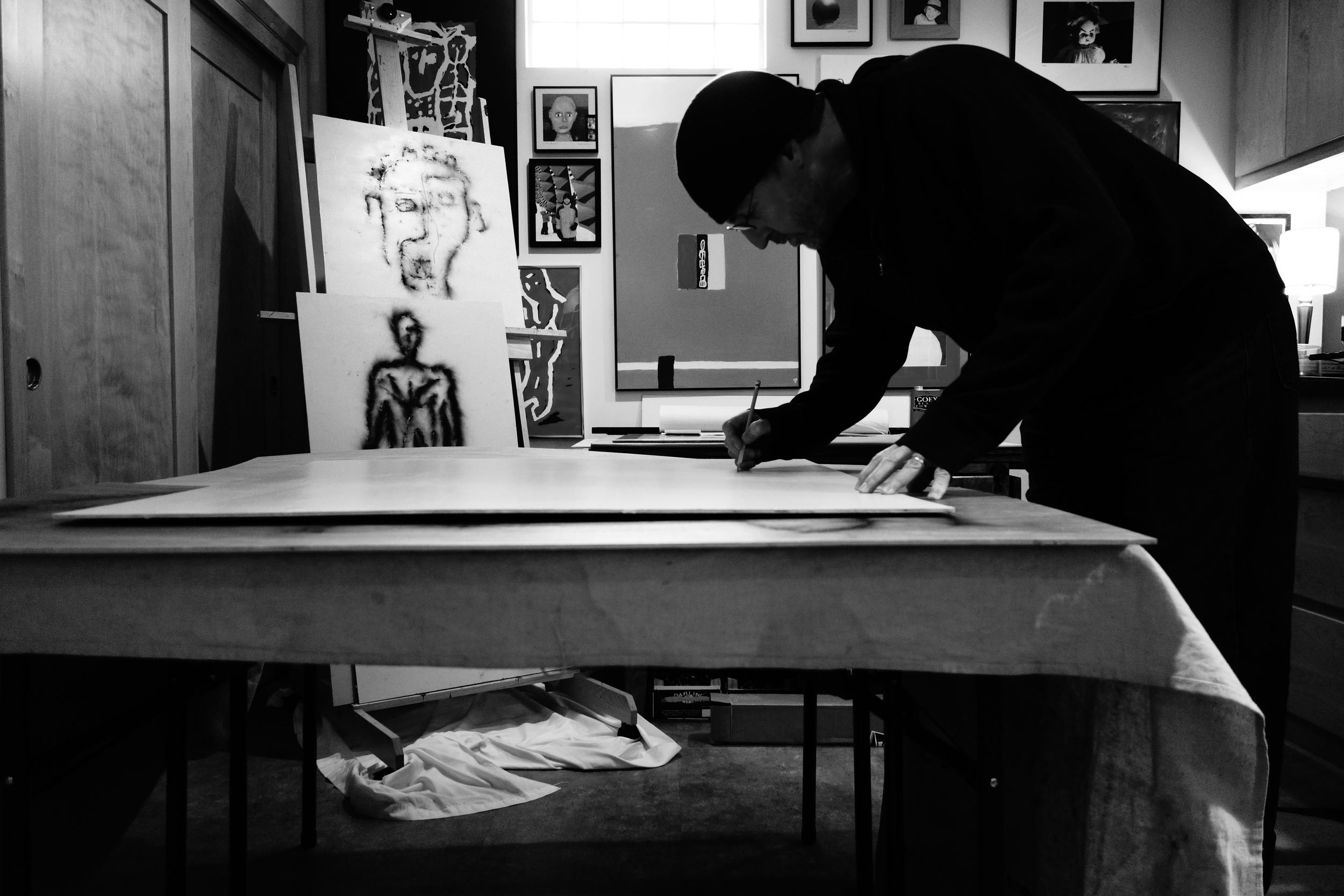 Stick Vega working in his studio - The Blast Factory.