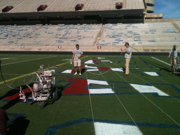 and loves 'Merica so much they painted the field.
