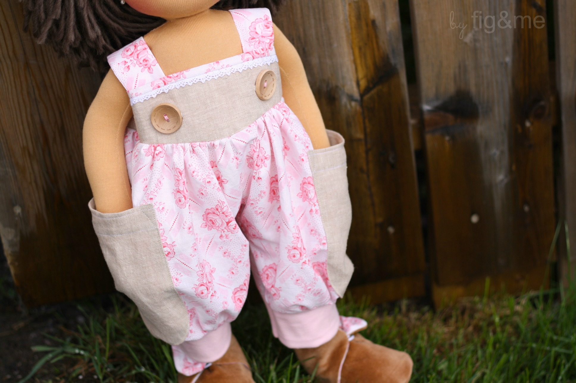 little doll in french overalls, by fig and me.