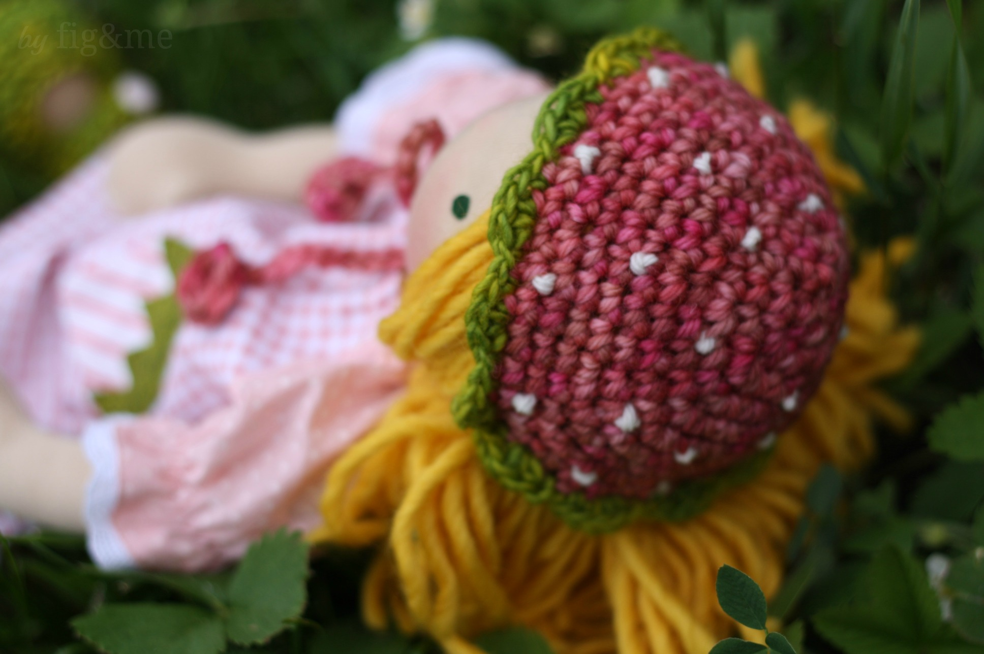 Strawberry wool hat, by fig and me.