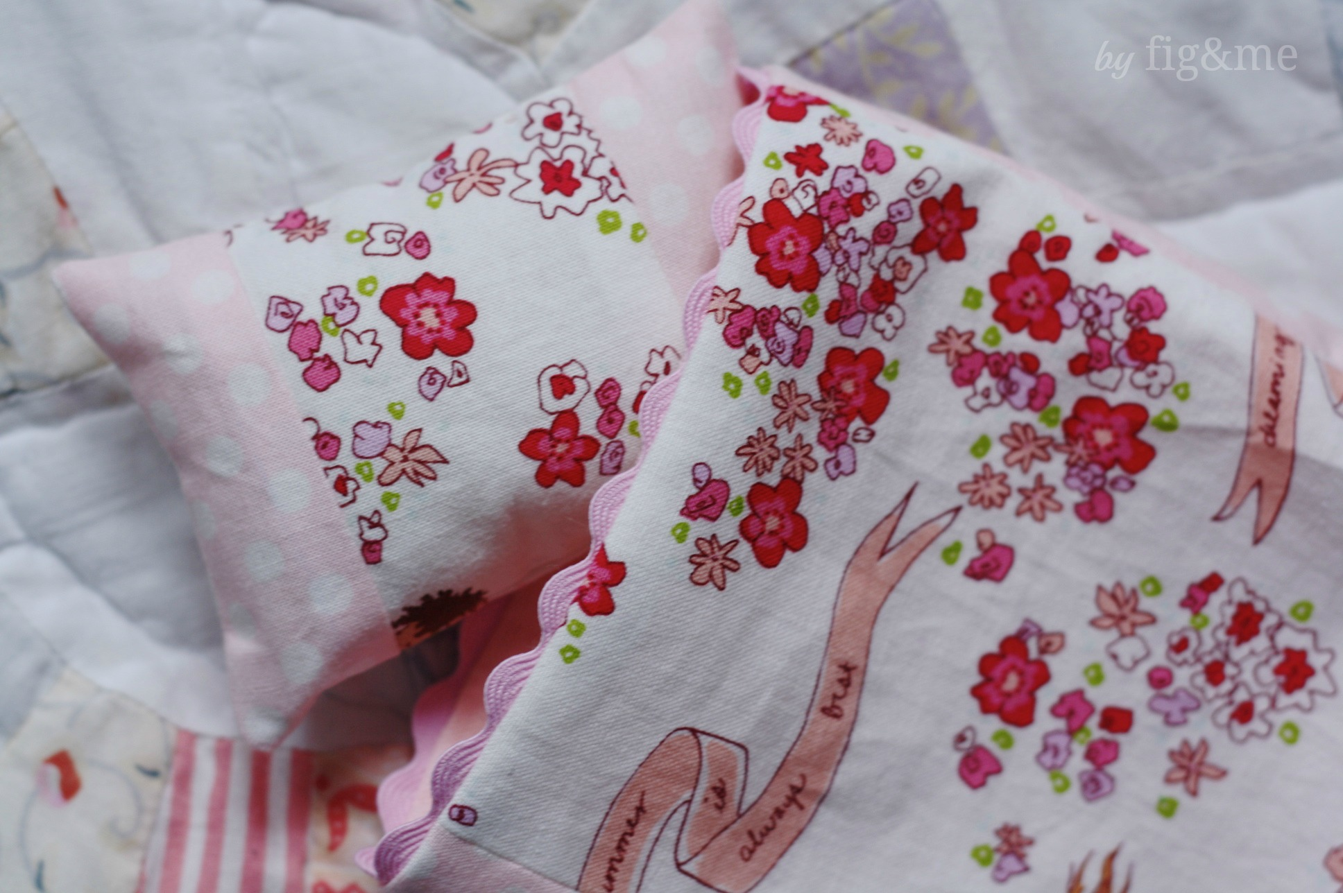 Doll bedding made with Sarah Jane fabrics, by Fig and Me.