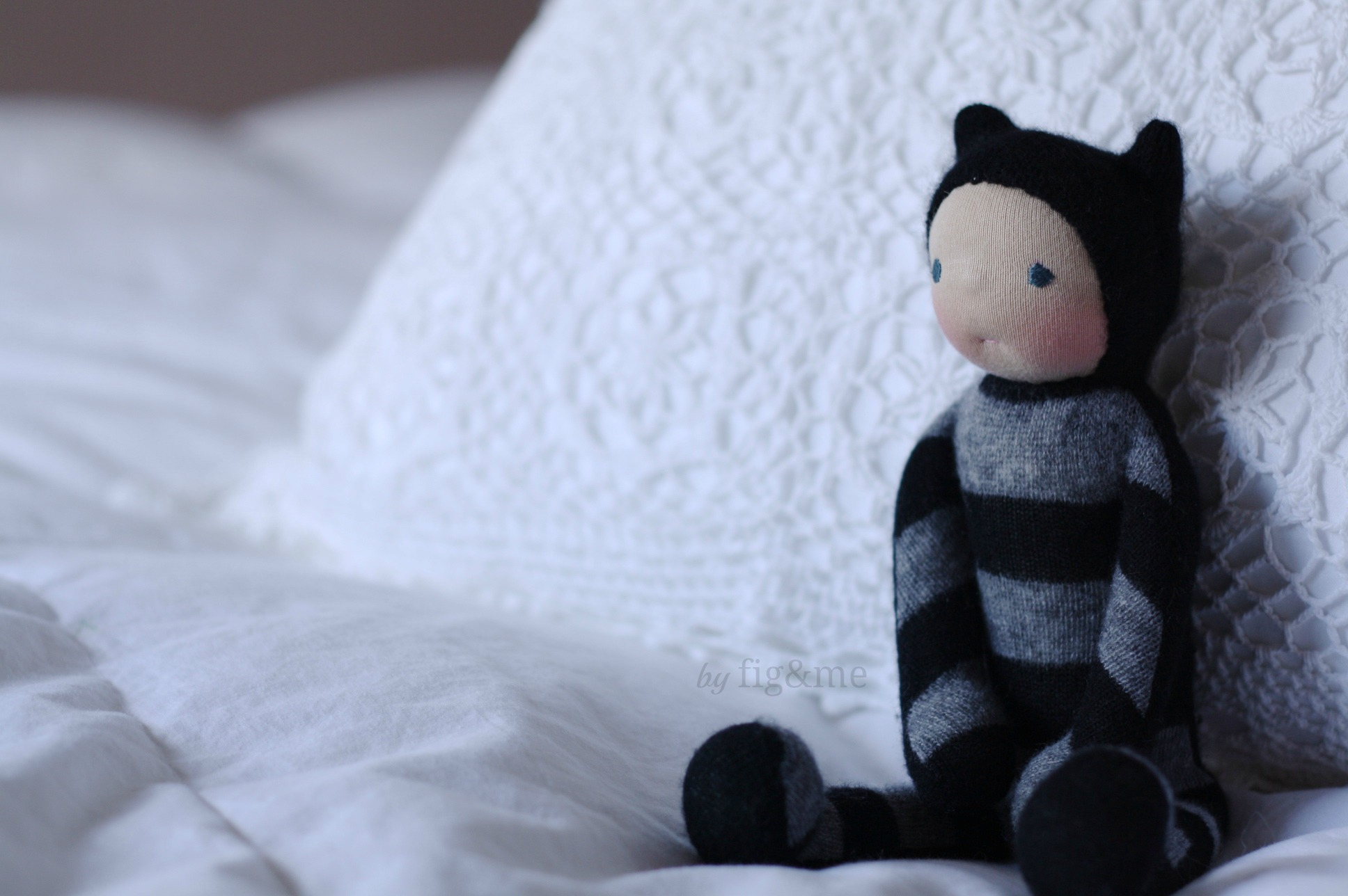A wee mischievous kitten made with cashmere, by Fig and Me.