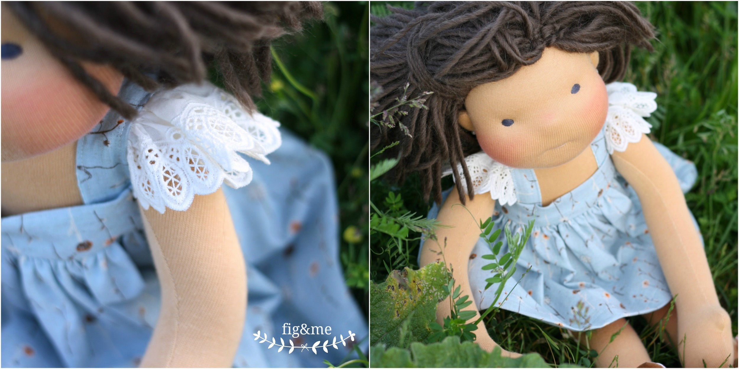 Blue linen pinafore, by Fig and Me.