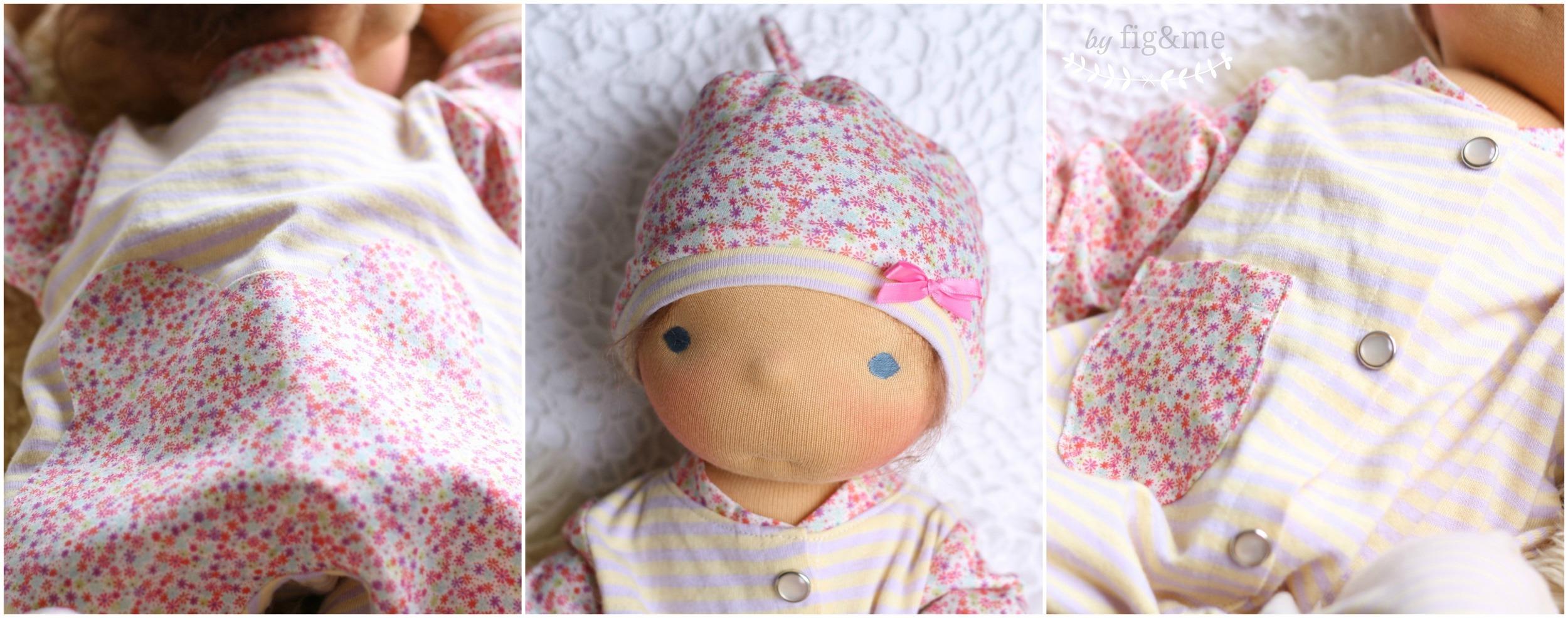 Doll pyajamas made of organic cotton and Liberty print, by Fig and Me.