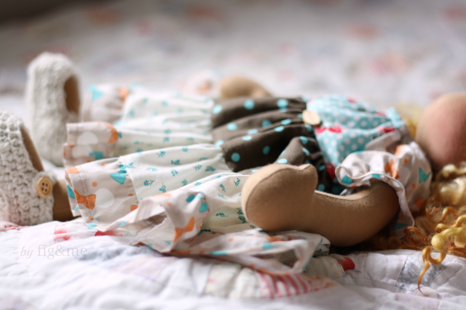 Handmade doll dress with plenty o' gathers, by Fig and me.