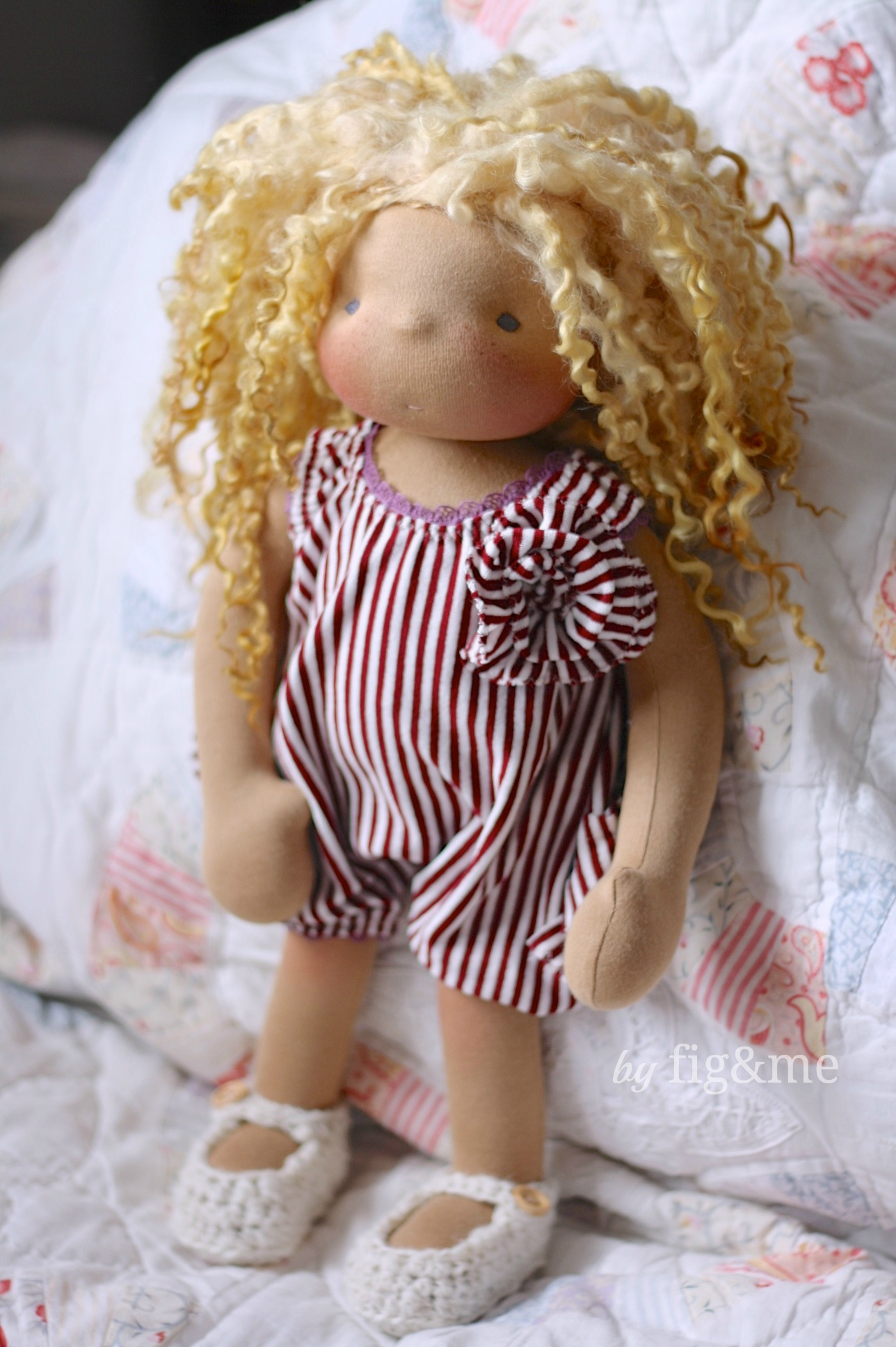 Handmade doll in her bathing suit, by Fig and me.