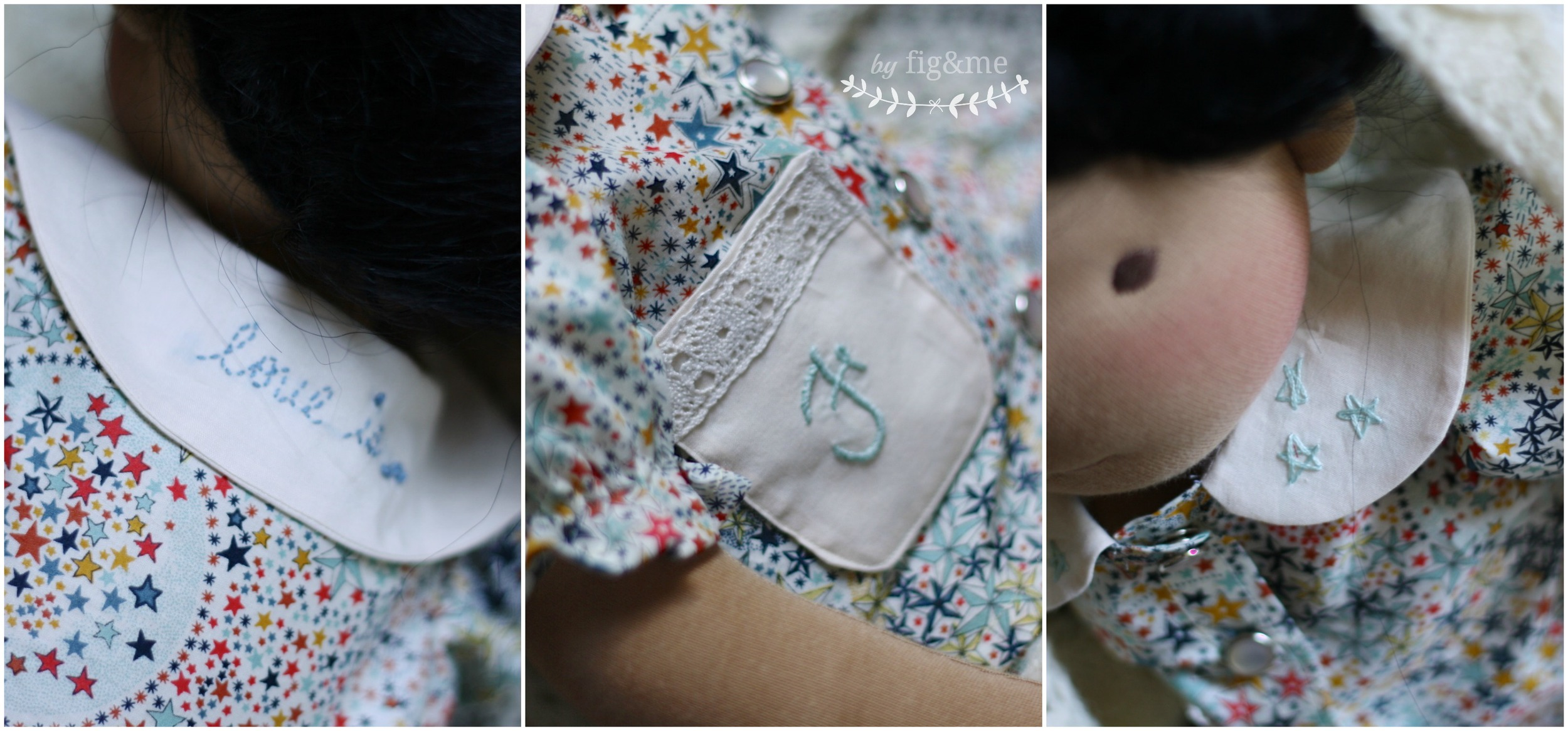 Doll pyjamas with Liberty fabric and pearl snaps, by Fig and me.