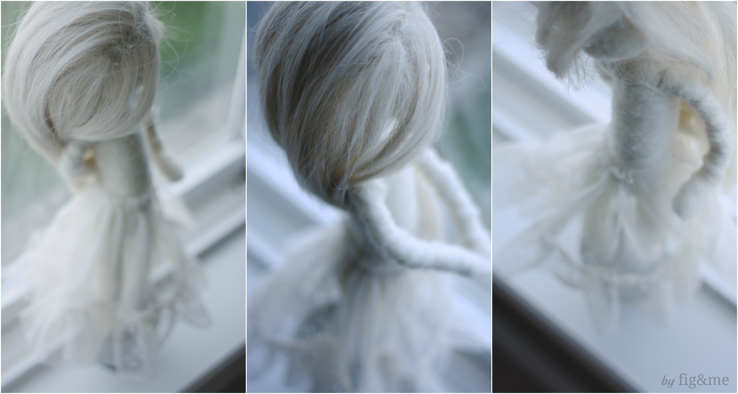 Wool sculpture art doll, by Fig and me.