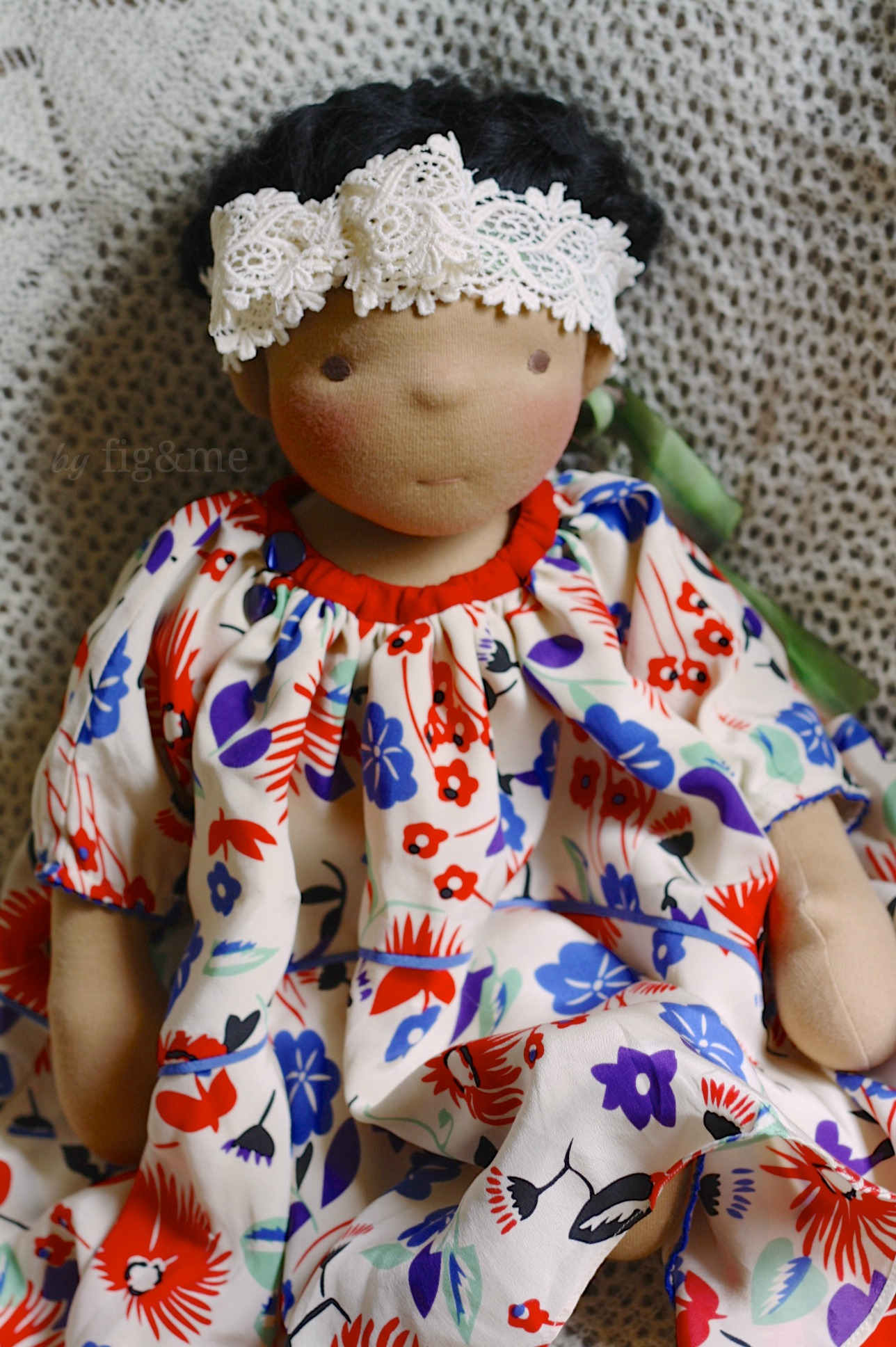 Frida in her silk dress with her lace headband, by Fig and me.