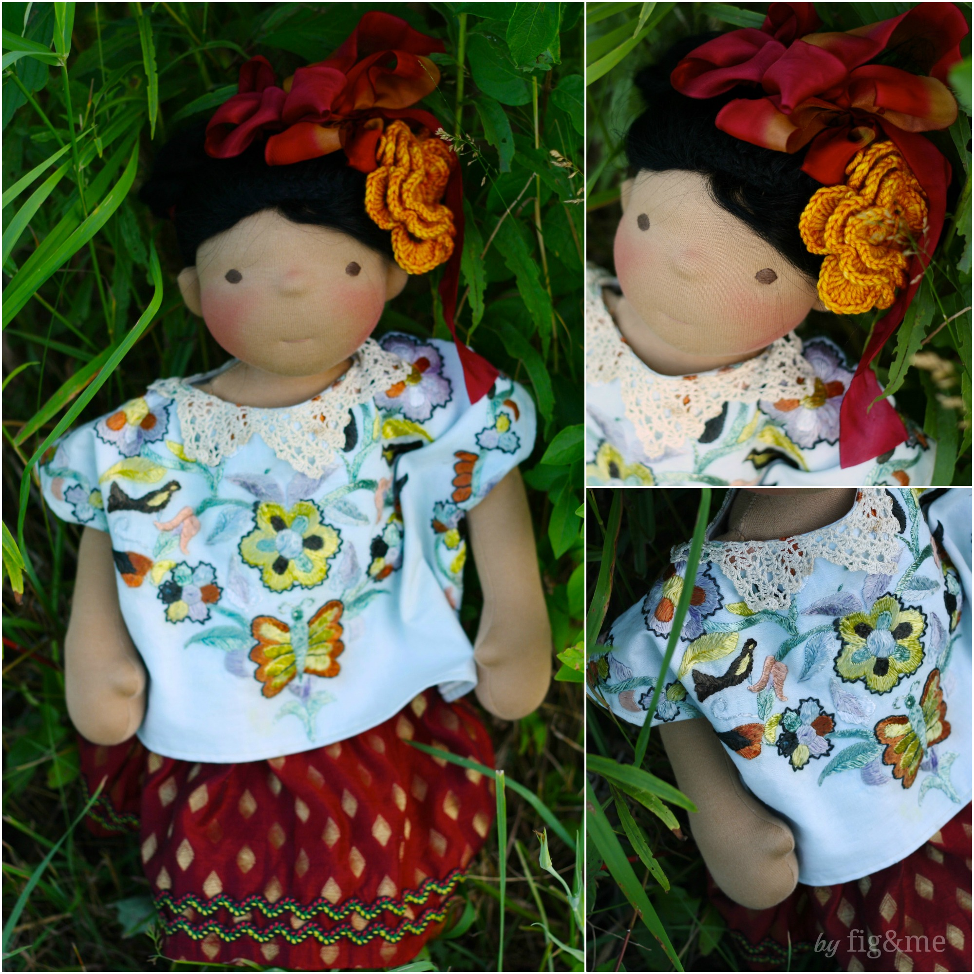 Little Frida in her huipil and rabona, by Fig and Me.