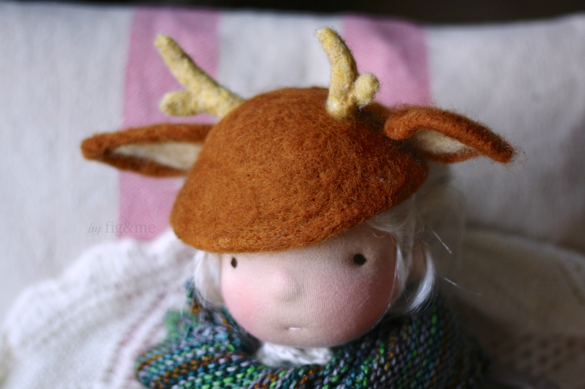 Needle felted deer doll hat by Fig and me.
