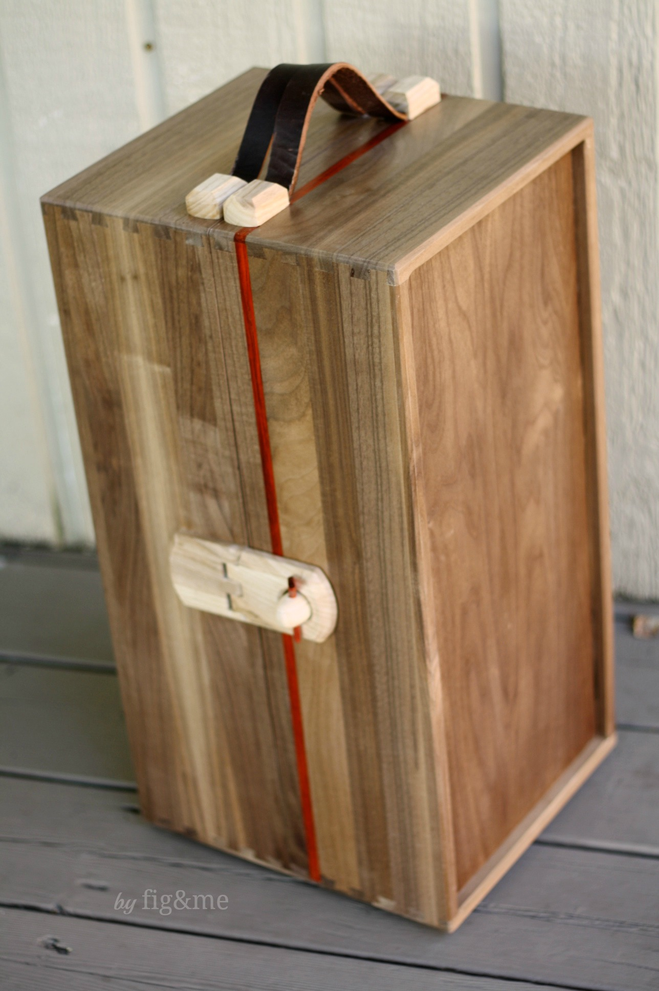 Walnut doll steam trunk, by Fig and me.