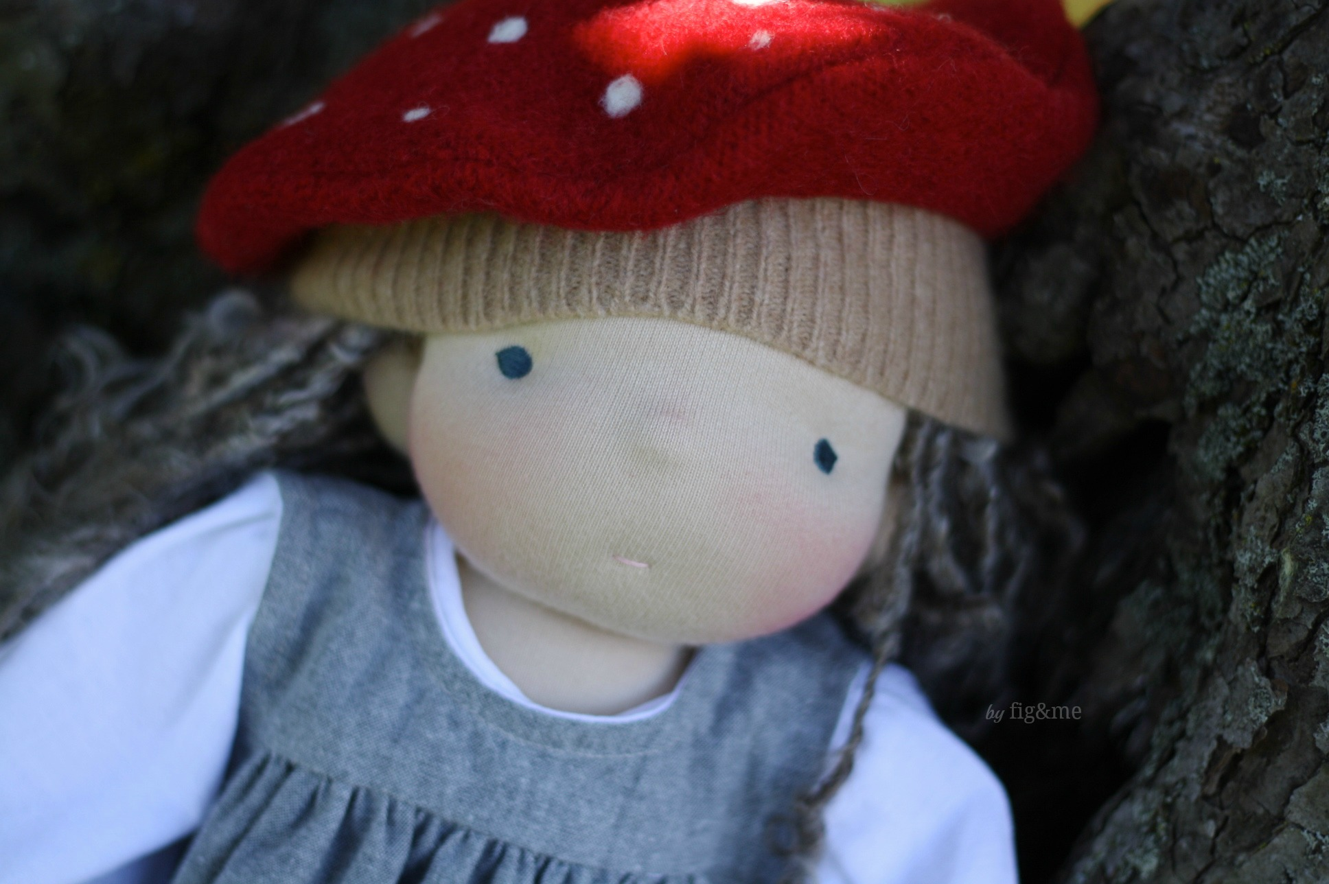 Little Satya and her amanita muscaria hat, by Fig and me.