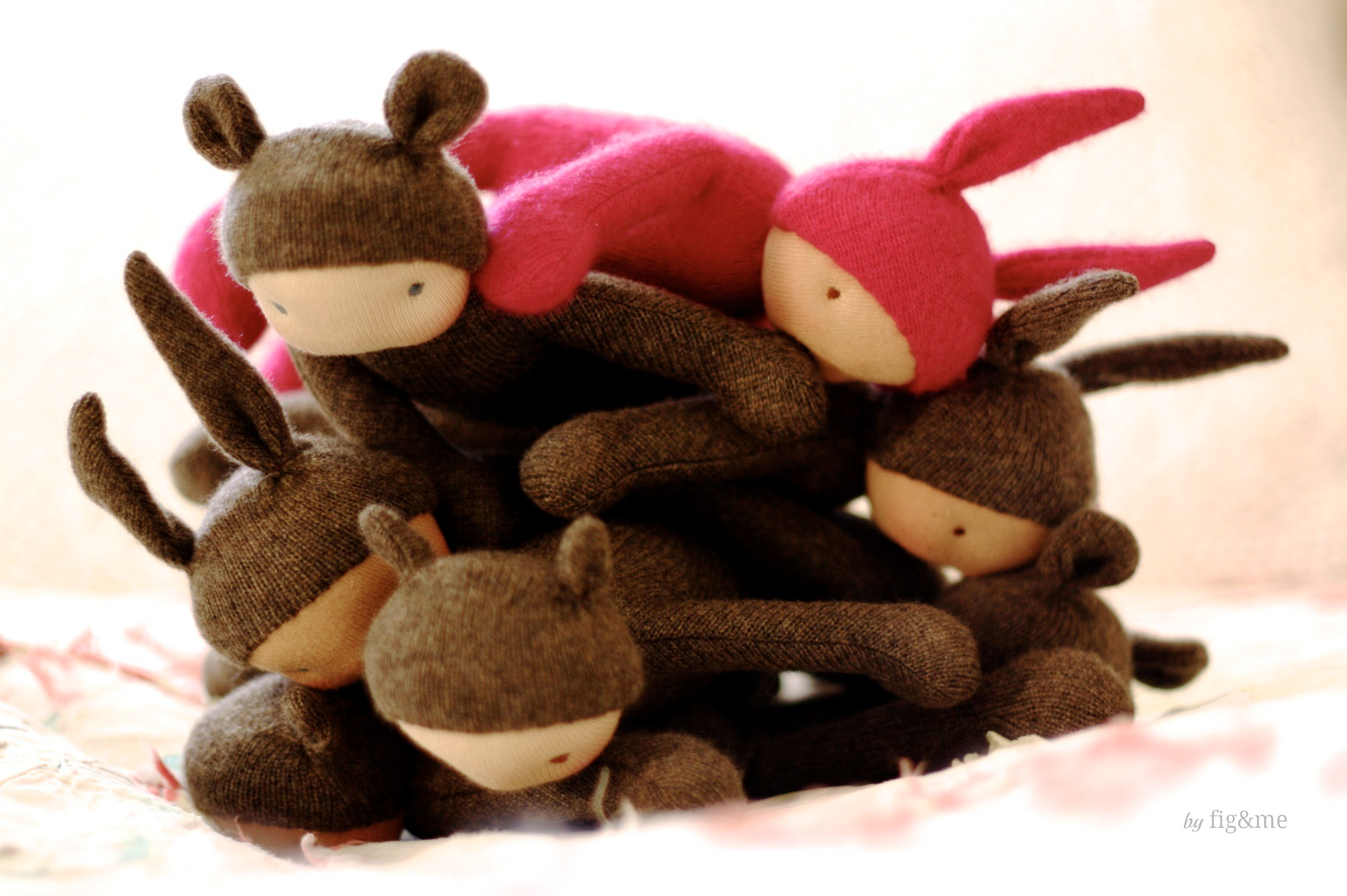 Cashmere Wee Babies on a pile, by Fig and me.