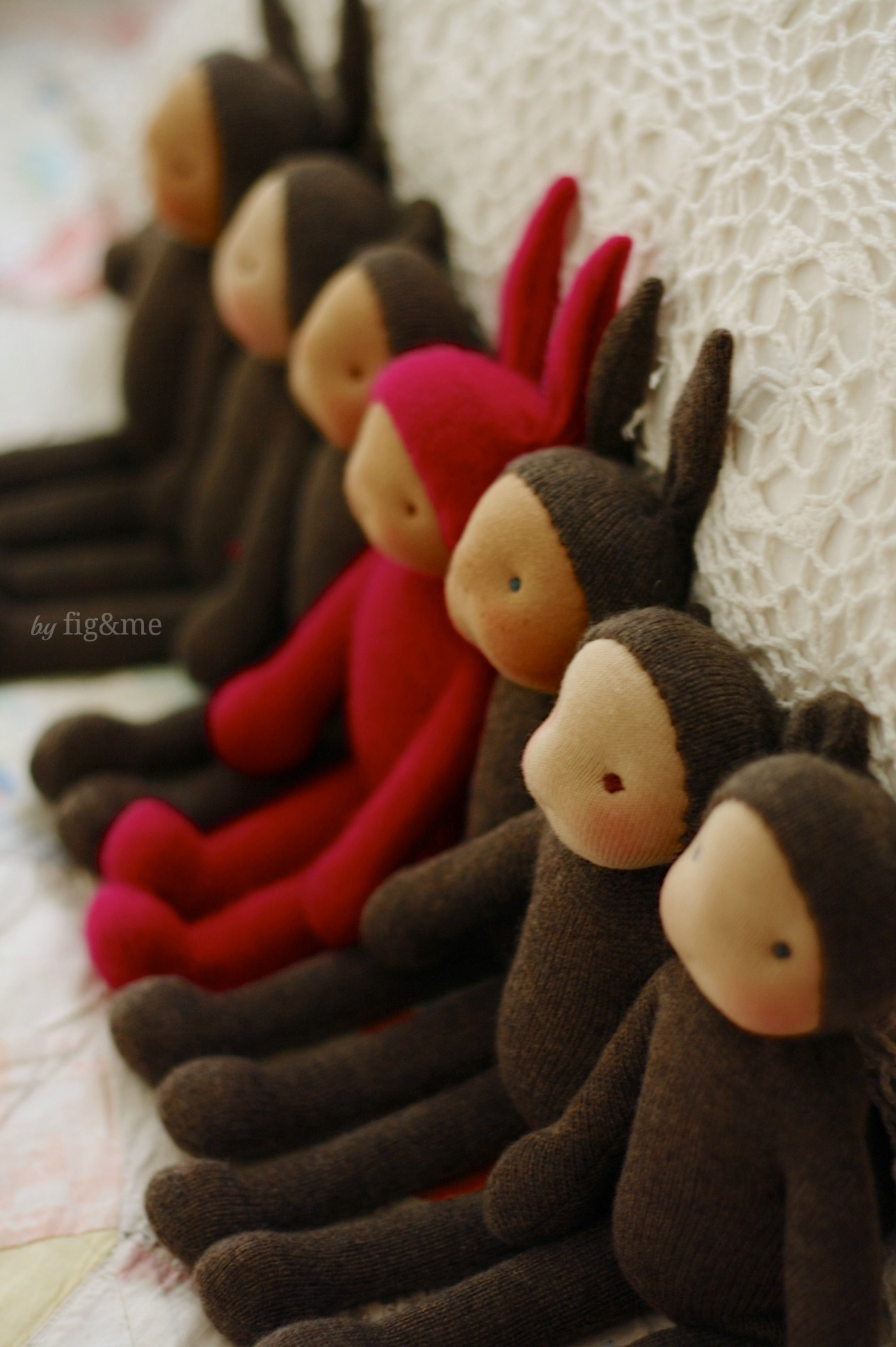 Handmade wool and cashmere babies, by Fig and me.
