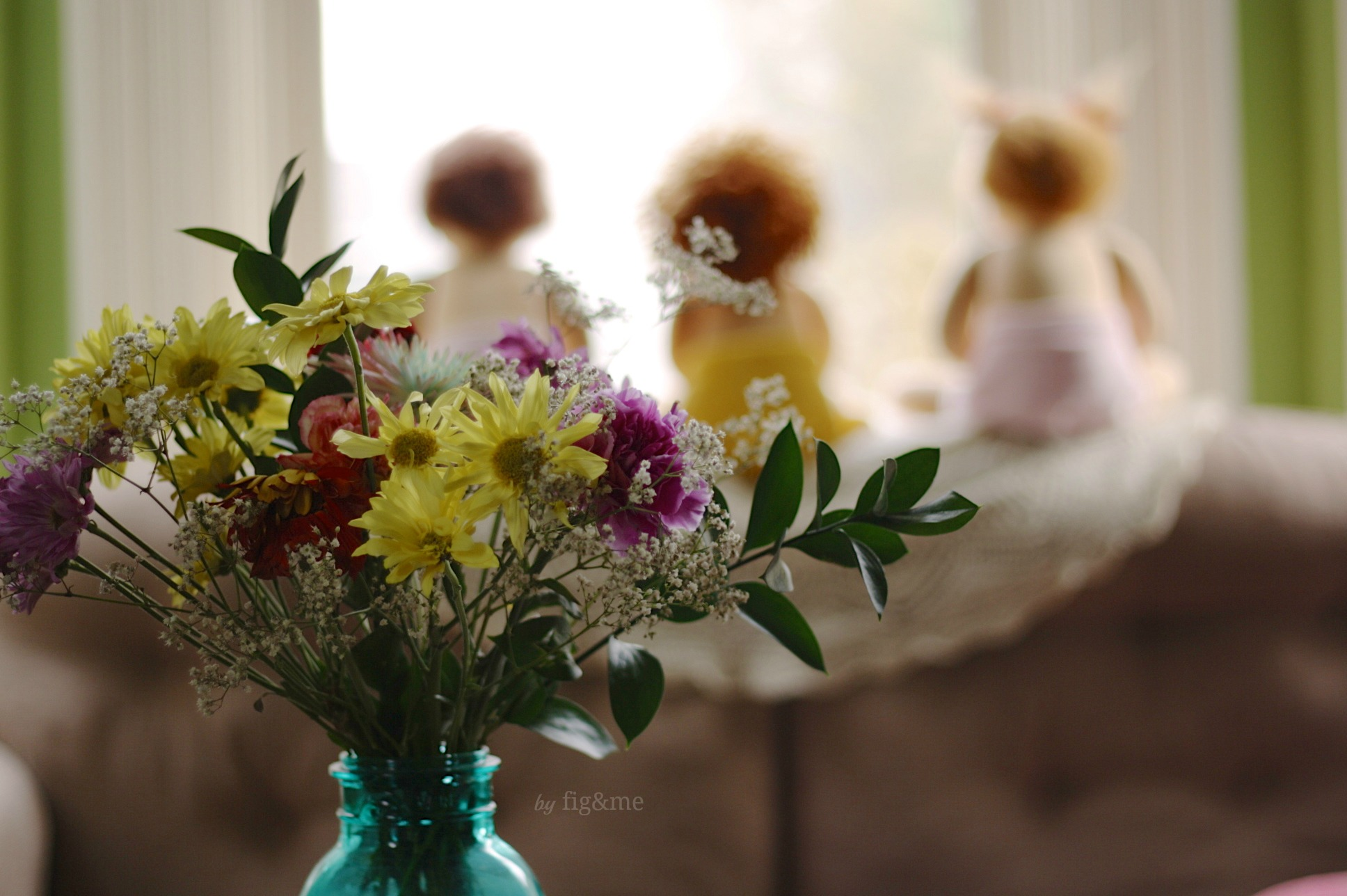 My birthday flowers, Fig and me.