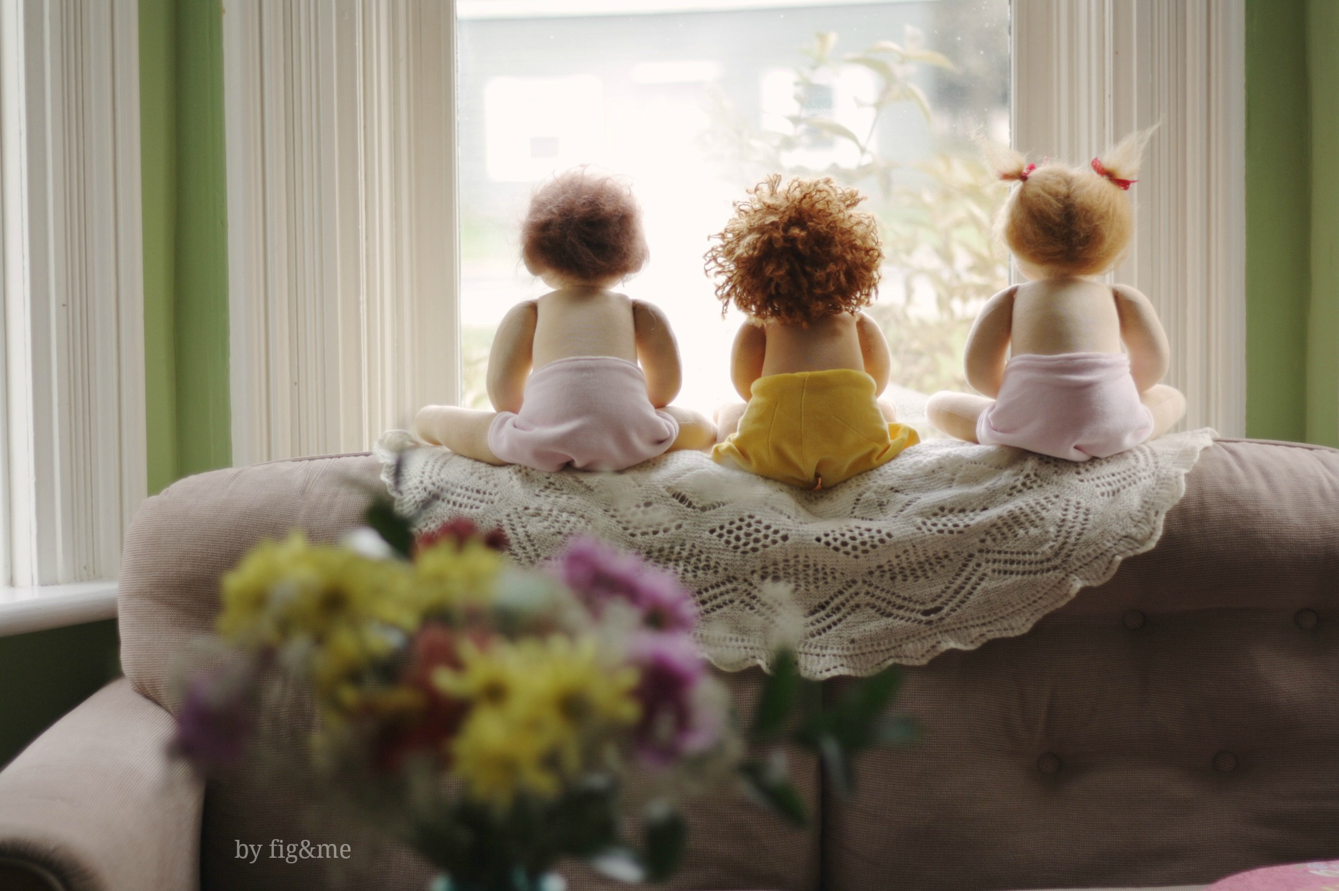 Three little monkeys, by Fig and me.