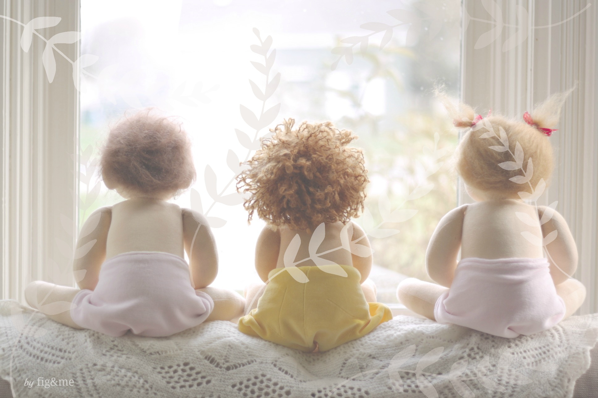 Three little babies, in their diapers. By Fig and me.