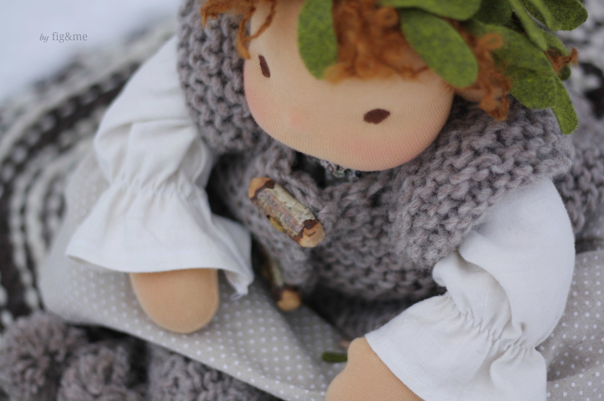 Birch toggles on her winter jacket, by Fig and me.