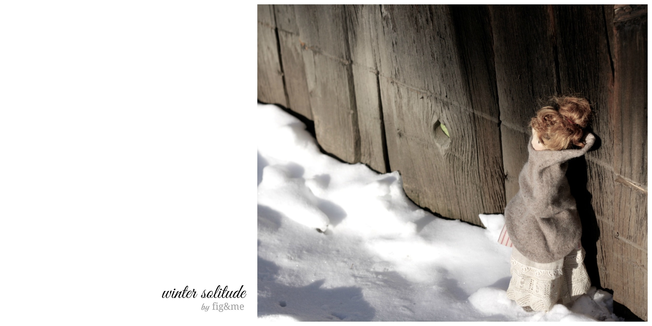 Winter solitude: Melina on the snow. A Mannikin style doll by Fig and me.