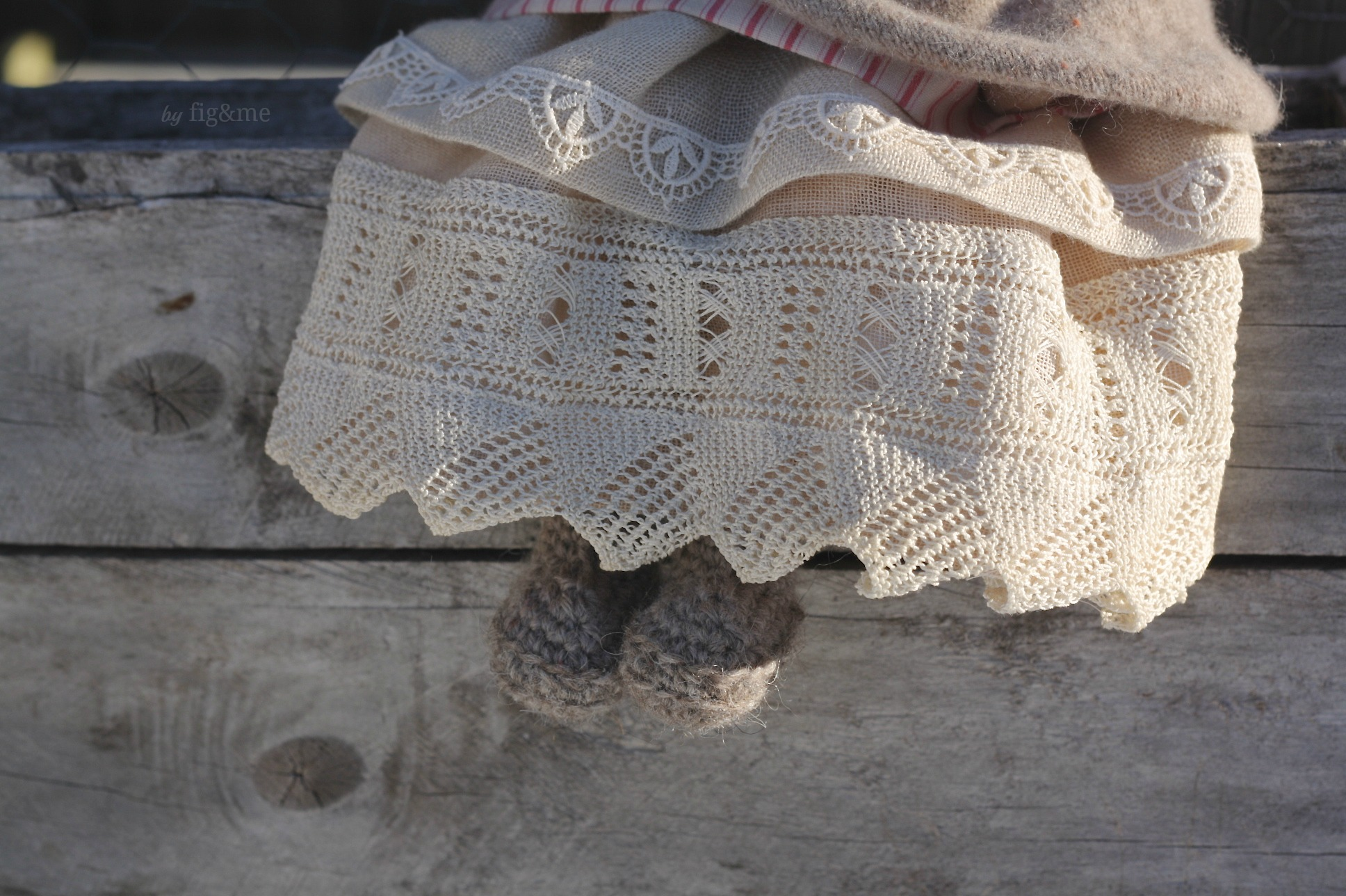Melina in her little boots, a natural fiber art doll by Fig and me.