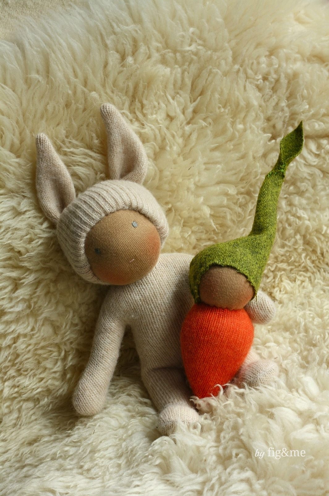 Wee Bunny and Baby Carrot, by Fig&me