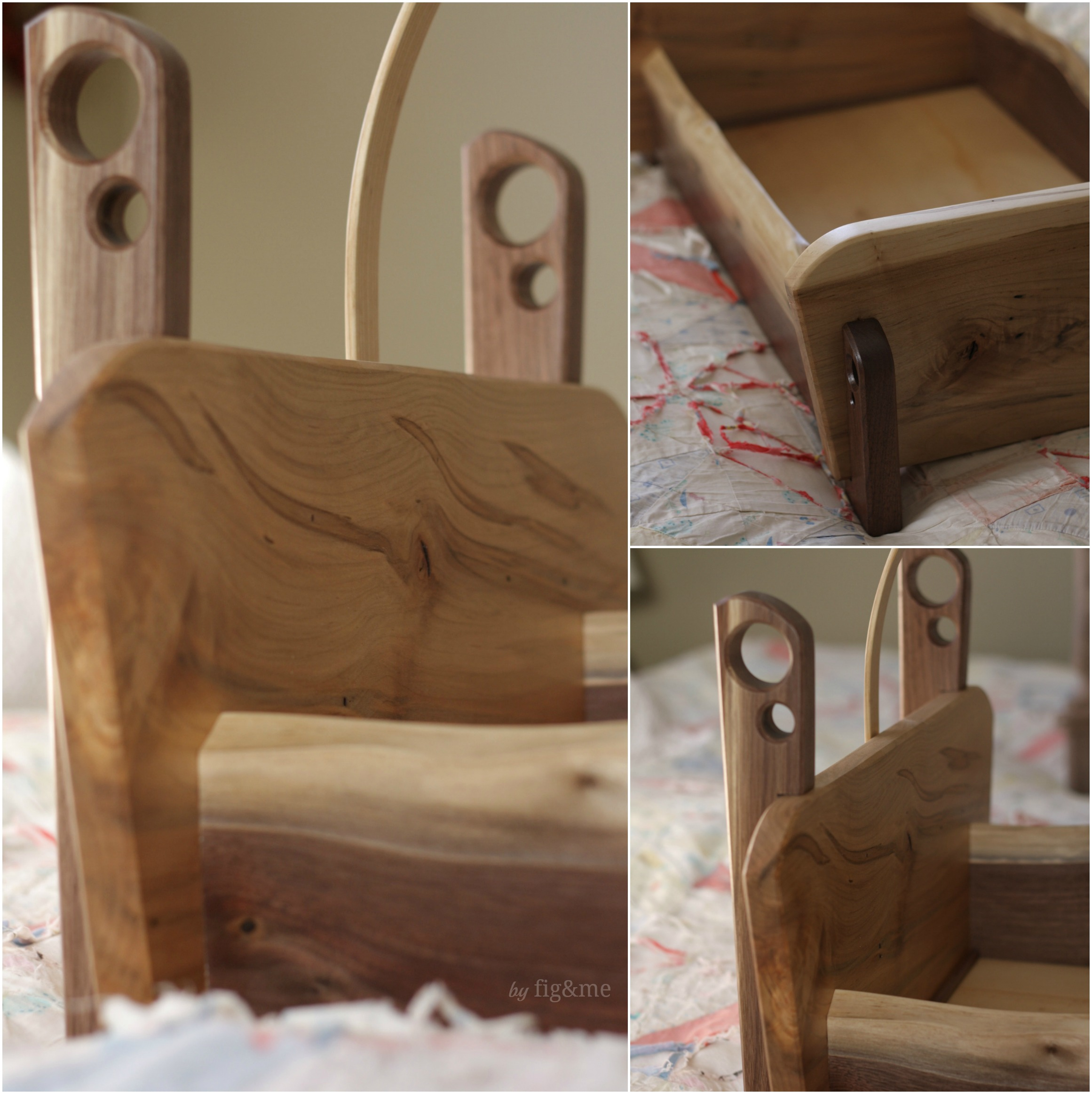 Ambrosia Maple and Walnut doll crib, by Fig&me.
