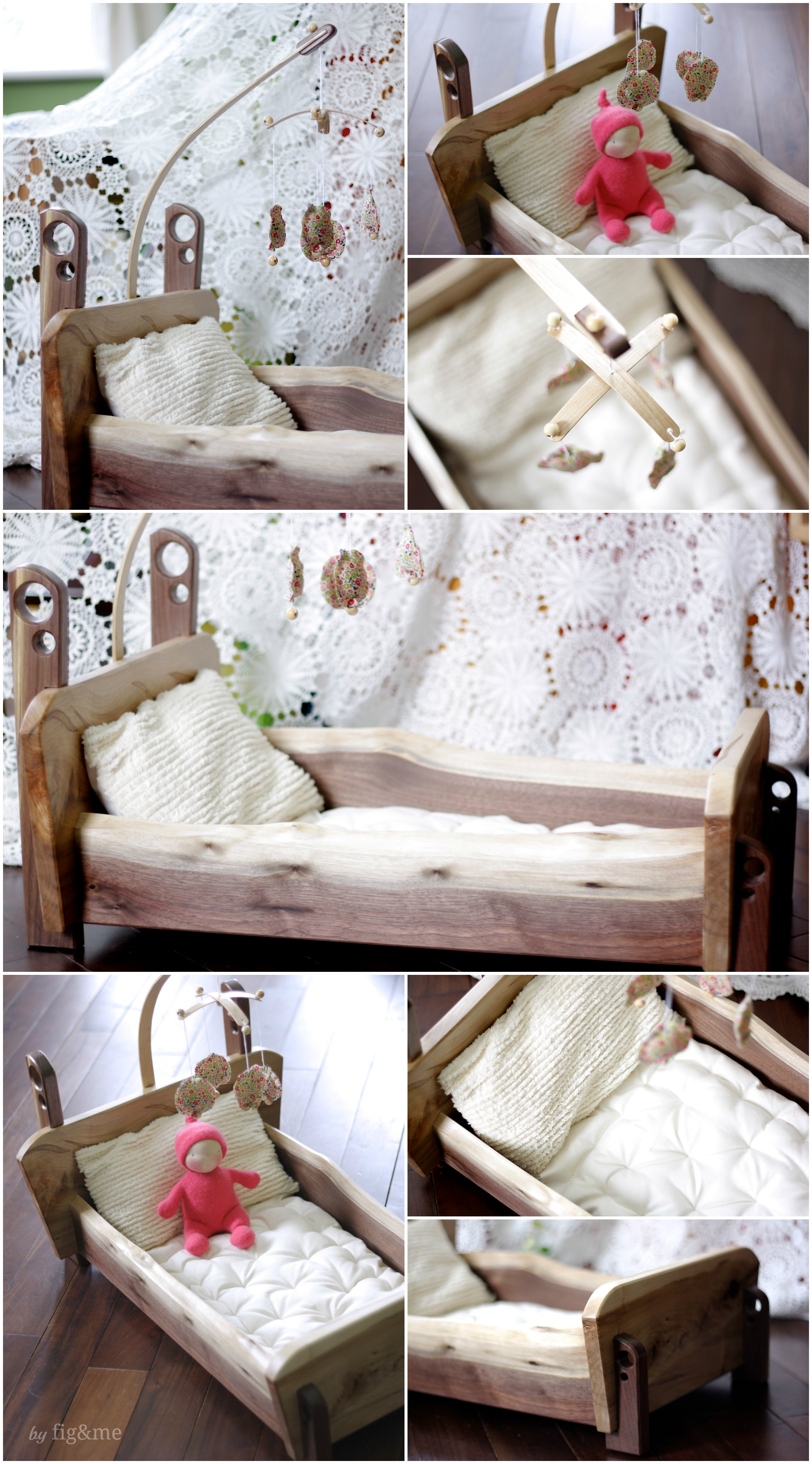 Handcrafted doll crib and bedding set, by Fig&me.