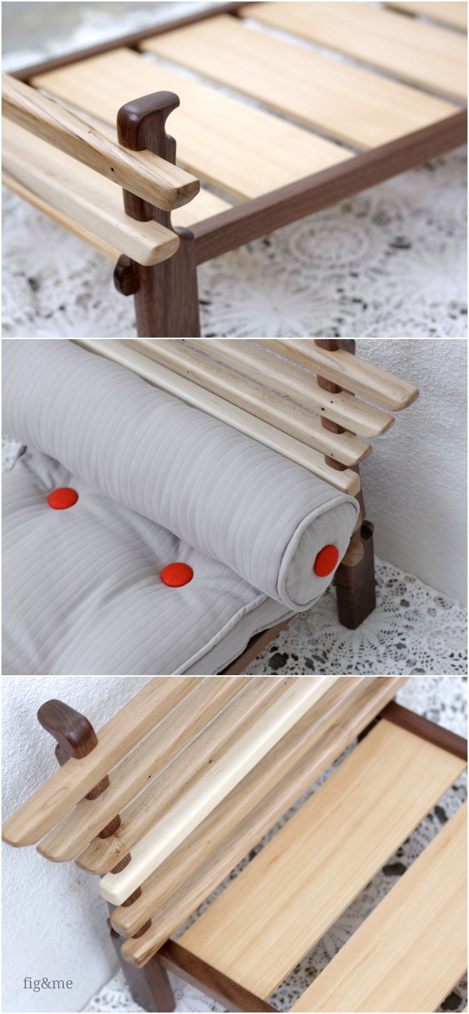 Walnut and ambrosia maple doll bed, by Fig & me
