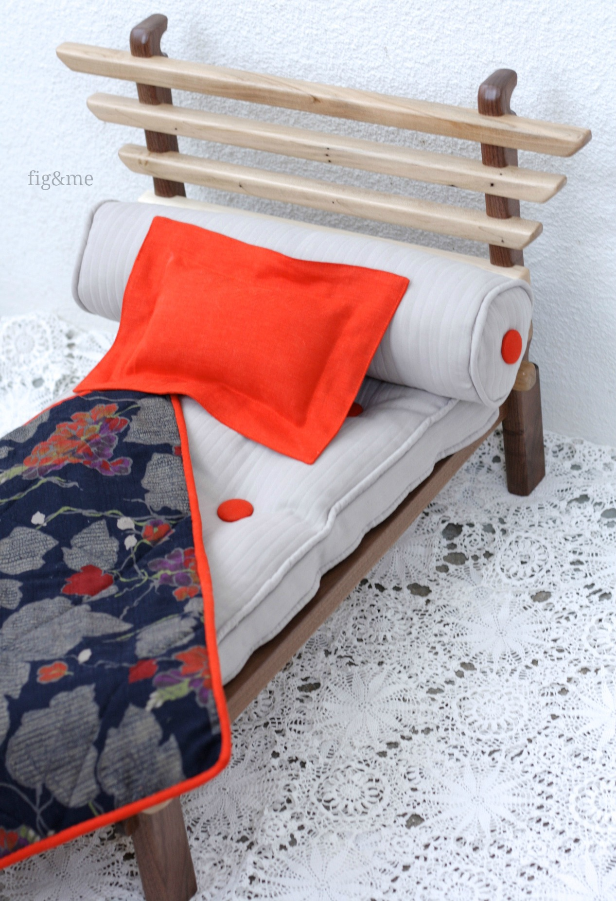 Japanese inspired wooden doll bed, by Fig&me.
