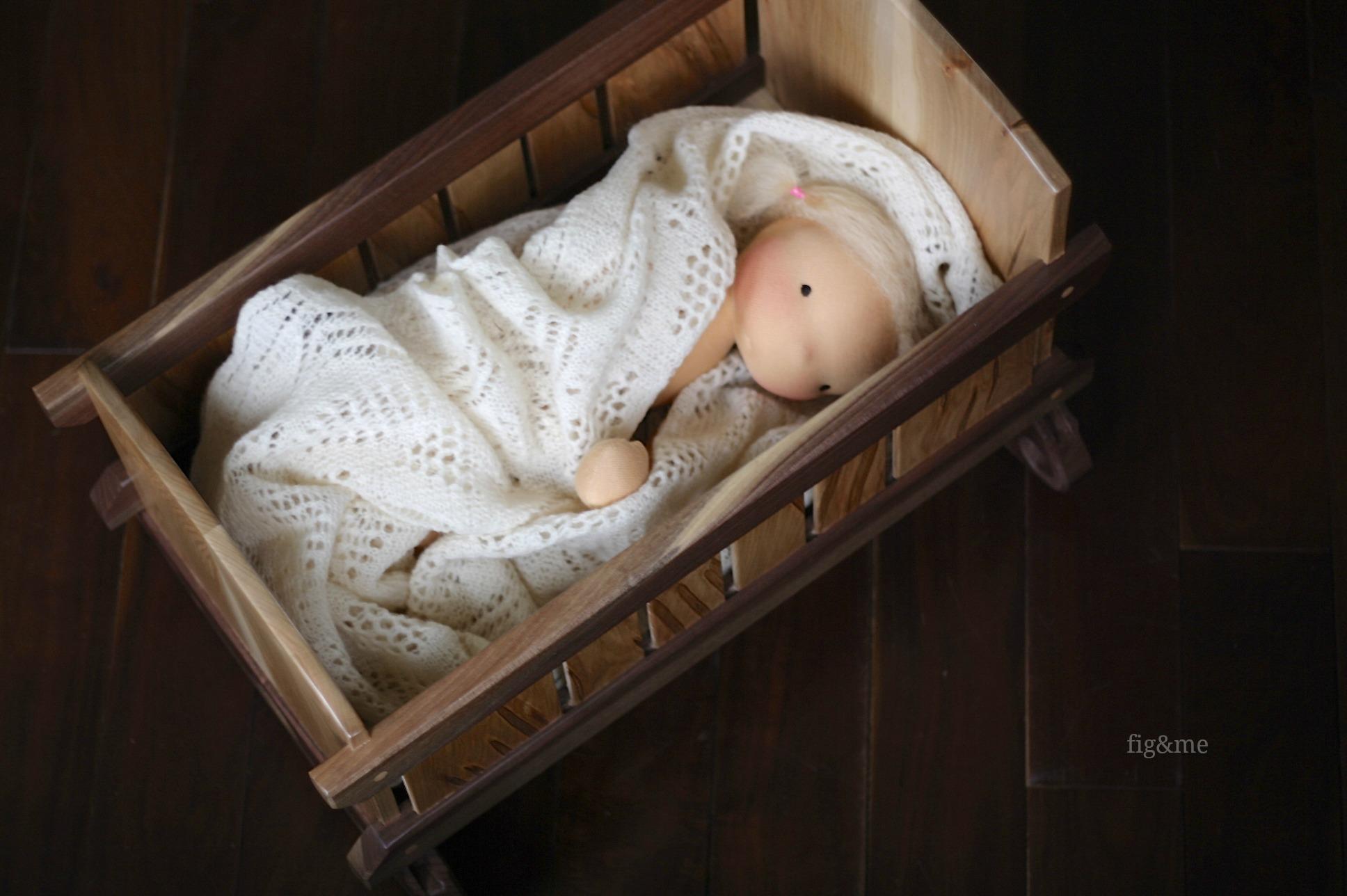 Wooden doll crib (via Fig&me).